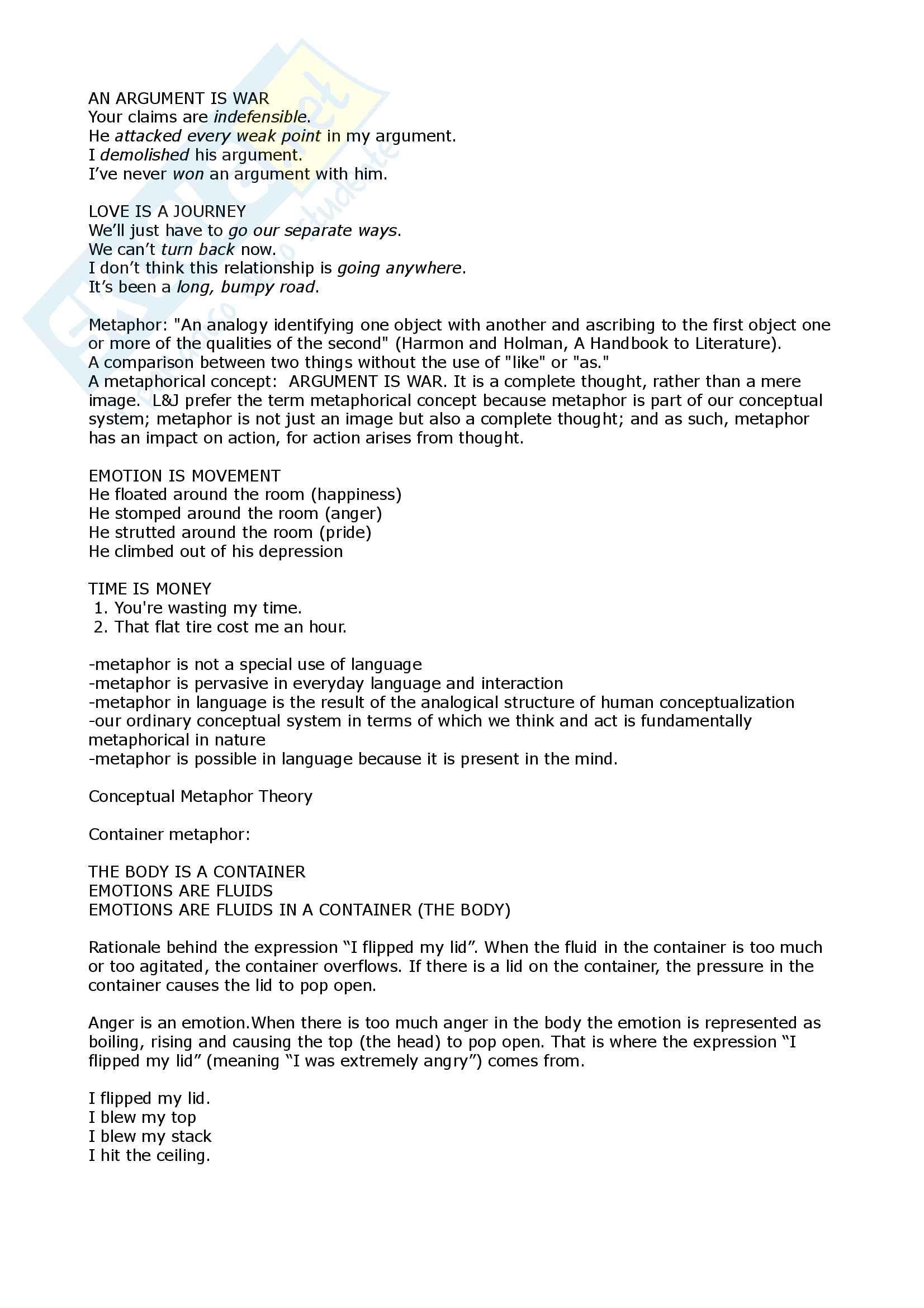 Metaphor and Conceptual Metaphor Theory Pag. 2