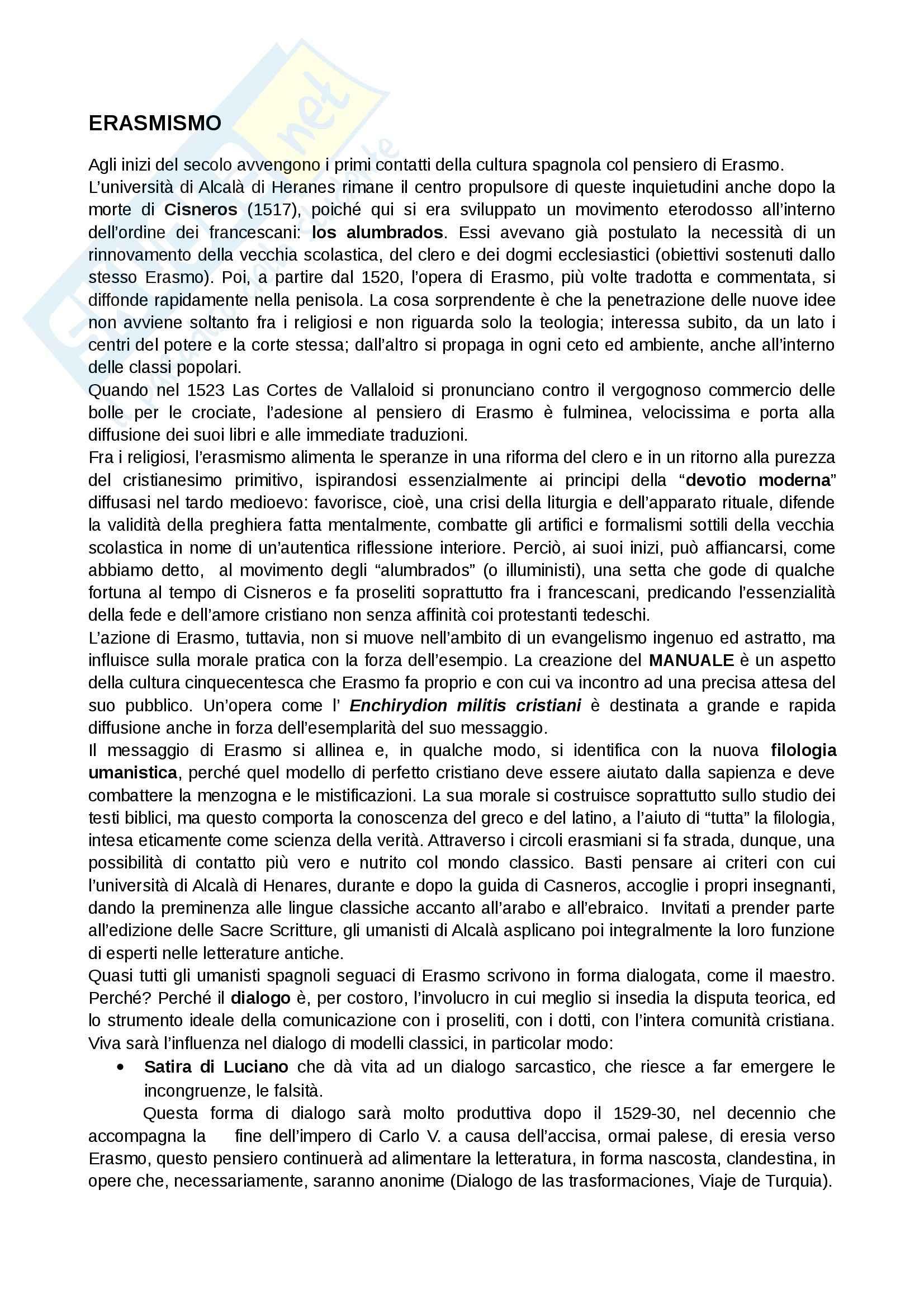Letteratura spagnola - erasmismo
