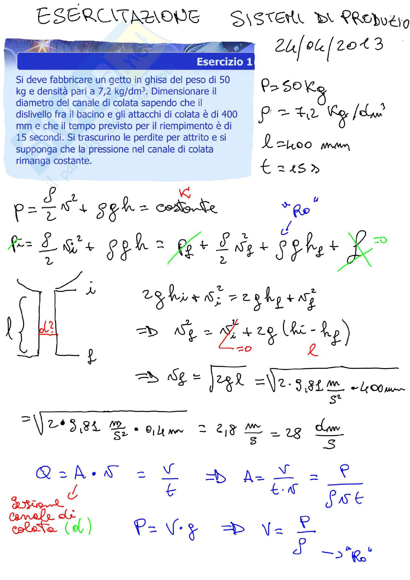 Sistemi di Produzione, Esercitazioni + Simulazione Esame