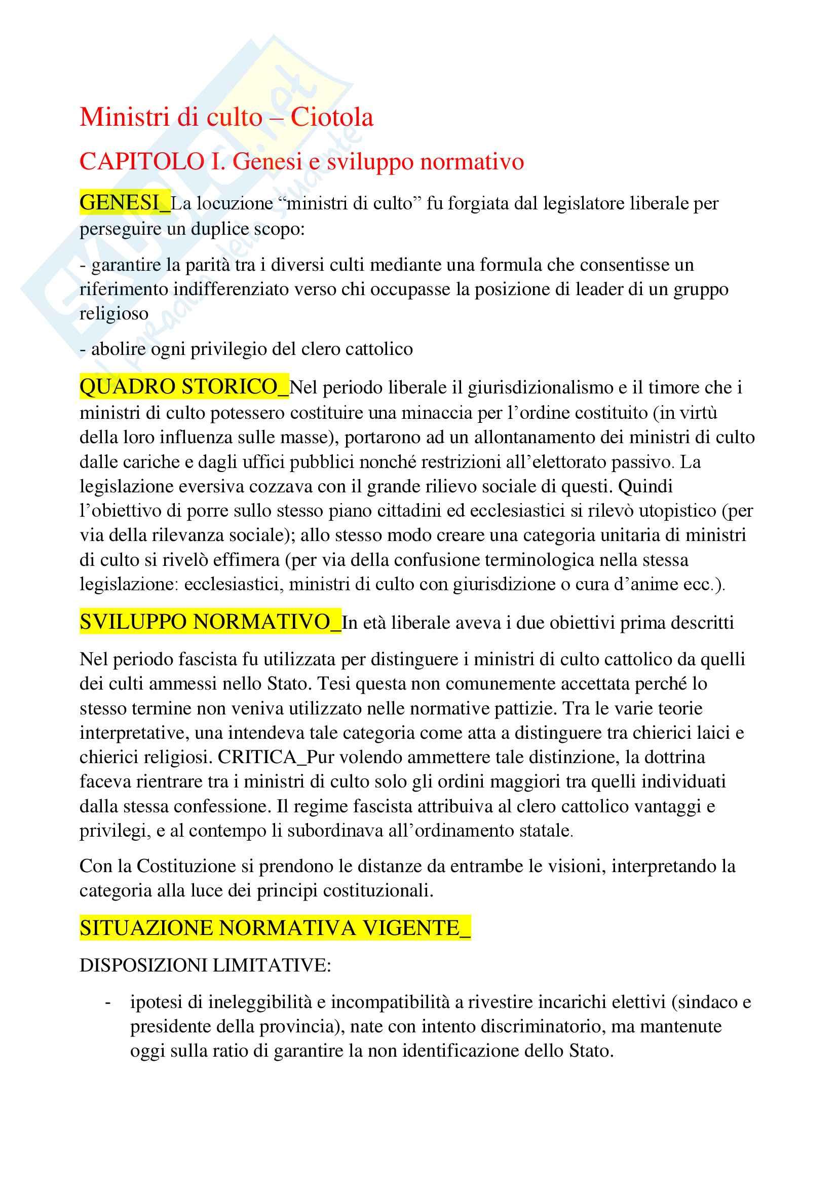 Riassunto esame Diritto ecclesiastico, prof. Guarino, libro consigliato per la parte speciale Ministri di culto di Ciotola