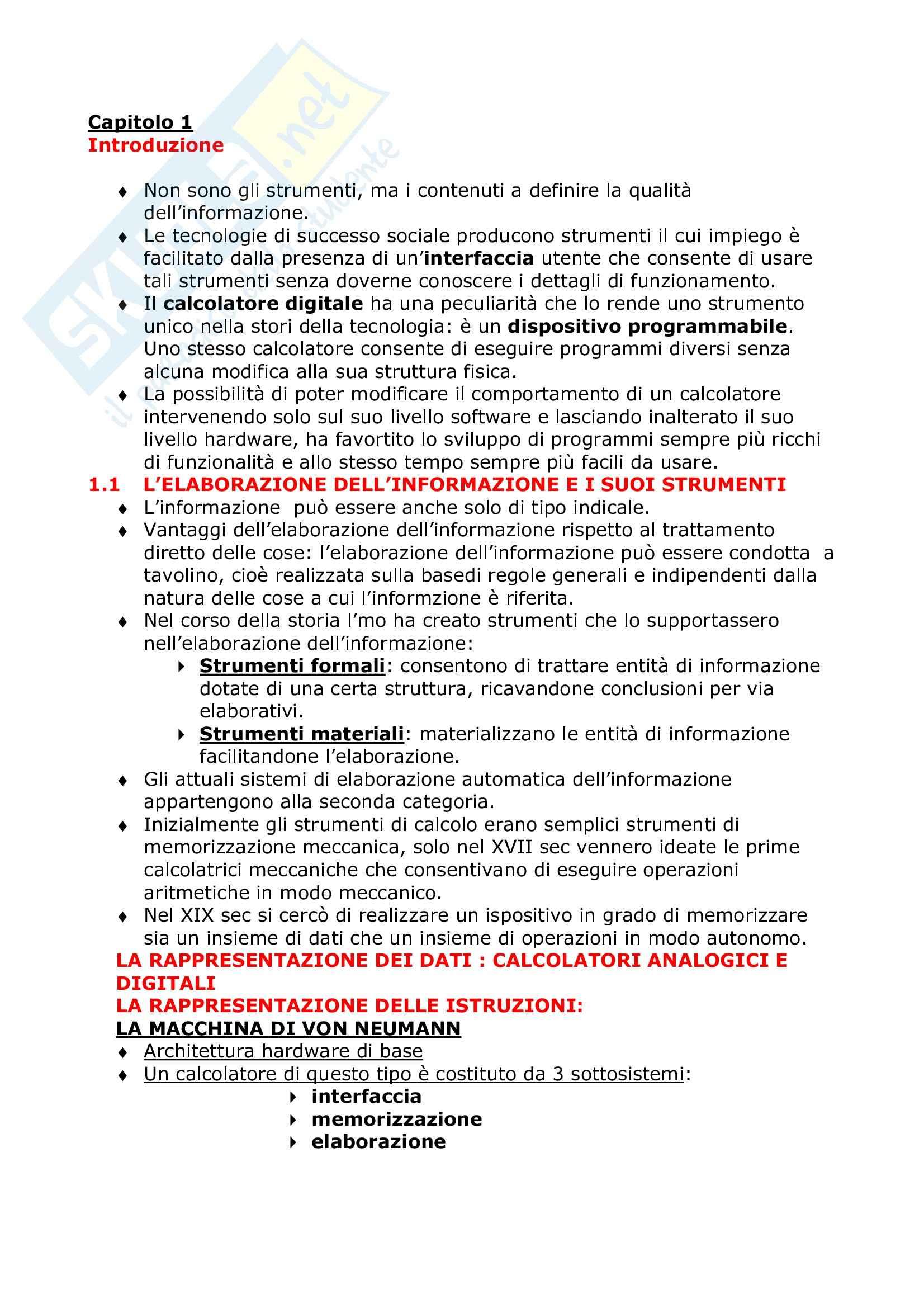 Informatica generale - Riassunto esame, prof. Moro