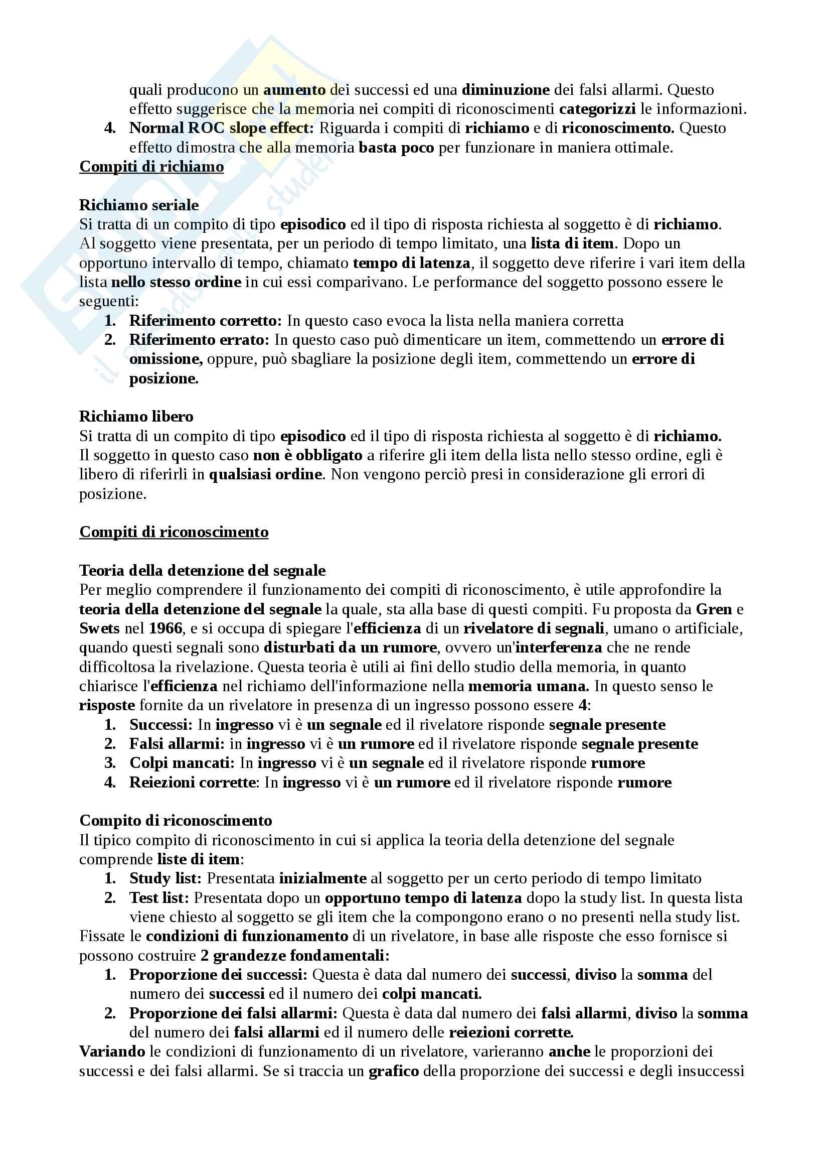 Riassunto esame Psicologia generale della sezione Memoria, Docente Eliano Pessa Pag. 2