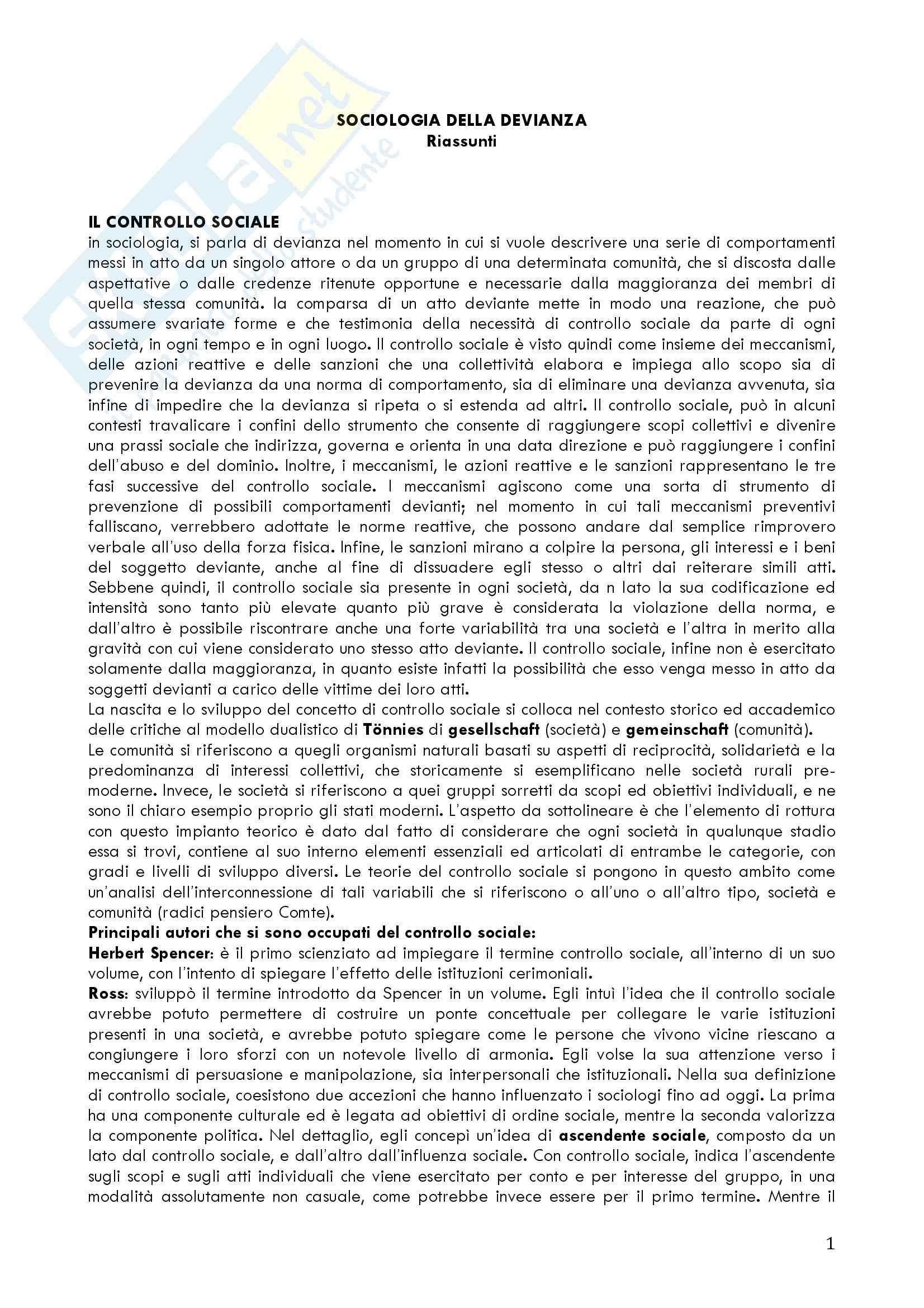 appunto F. Prina Sociologia della devianza