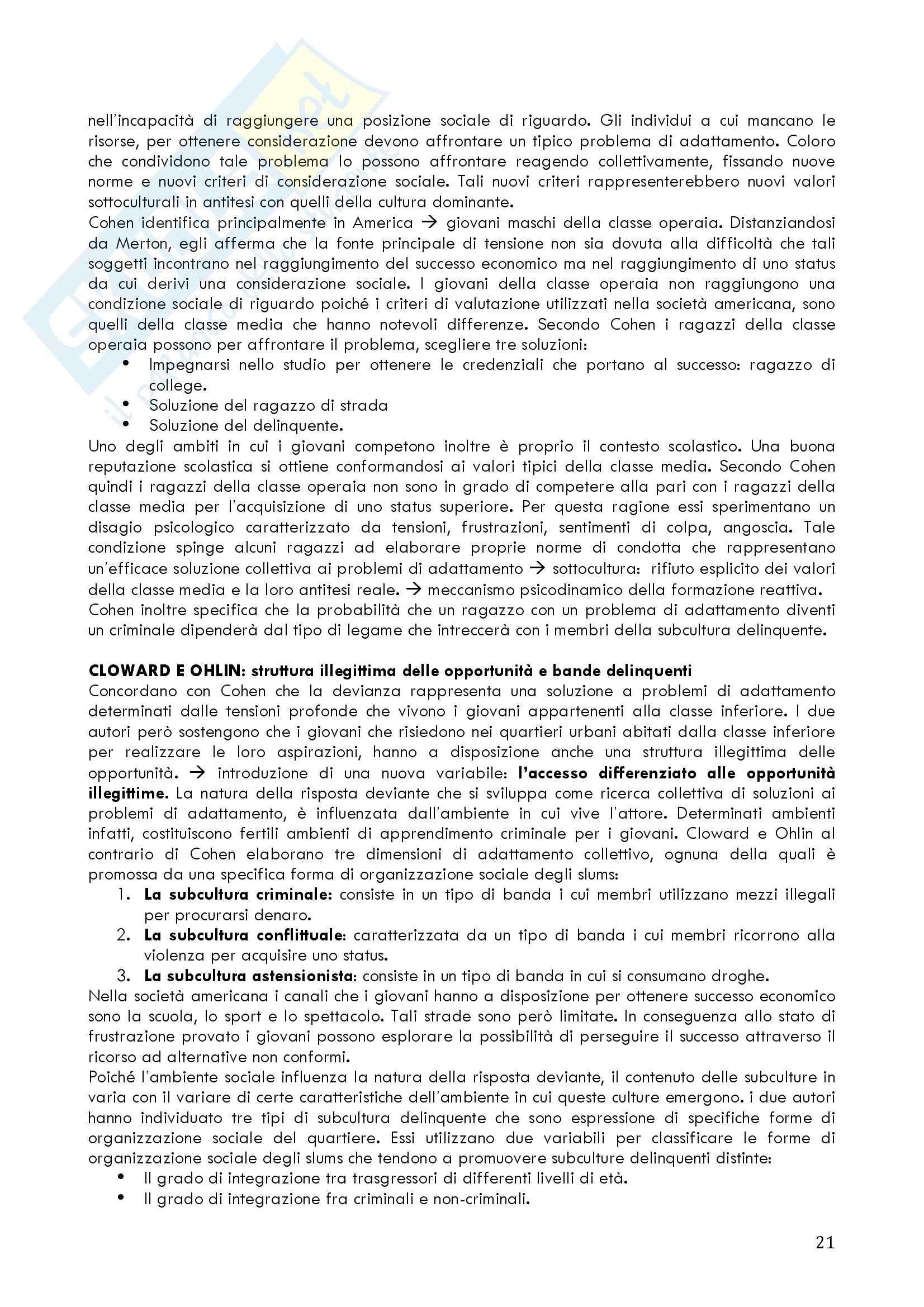 Riassunto esame Sociologia delle devianza, prof. Prina, libri consigliati Il consumo di droghe, Scarscelli e La devianza come sociologia, Cipolla Pag. 21