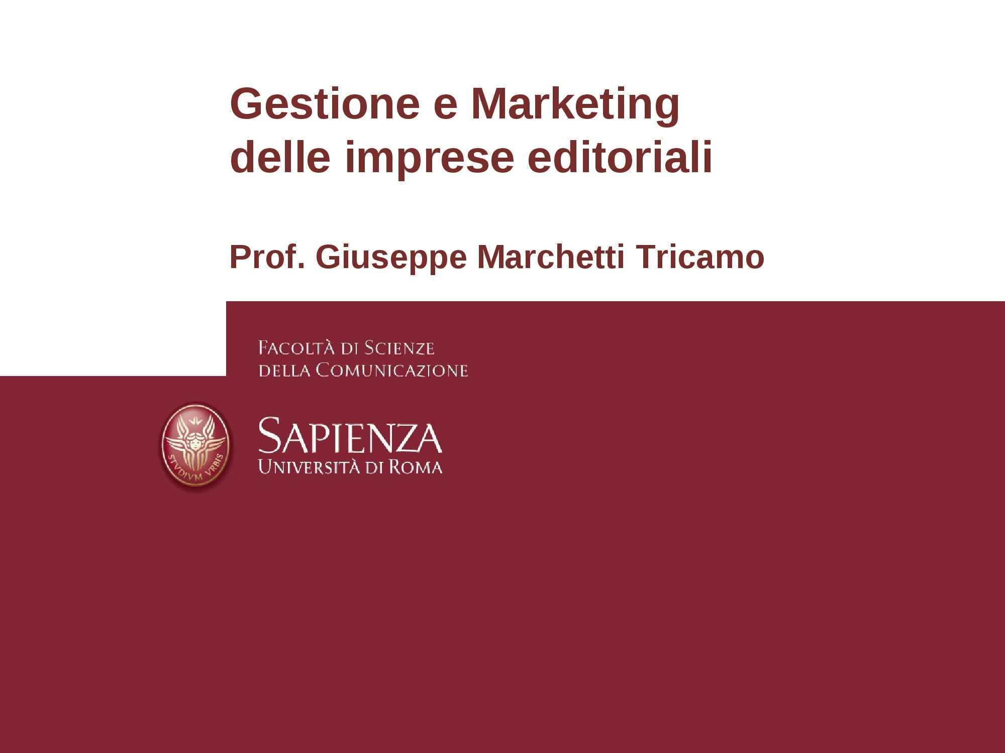 Imprese editoriali - Gestione e marketing Pag. 1