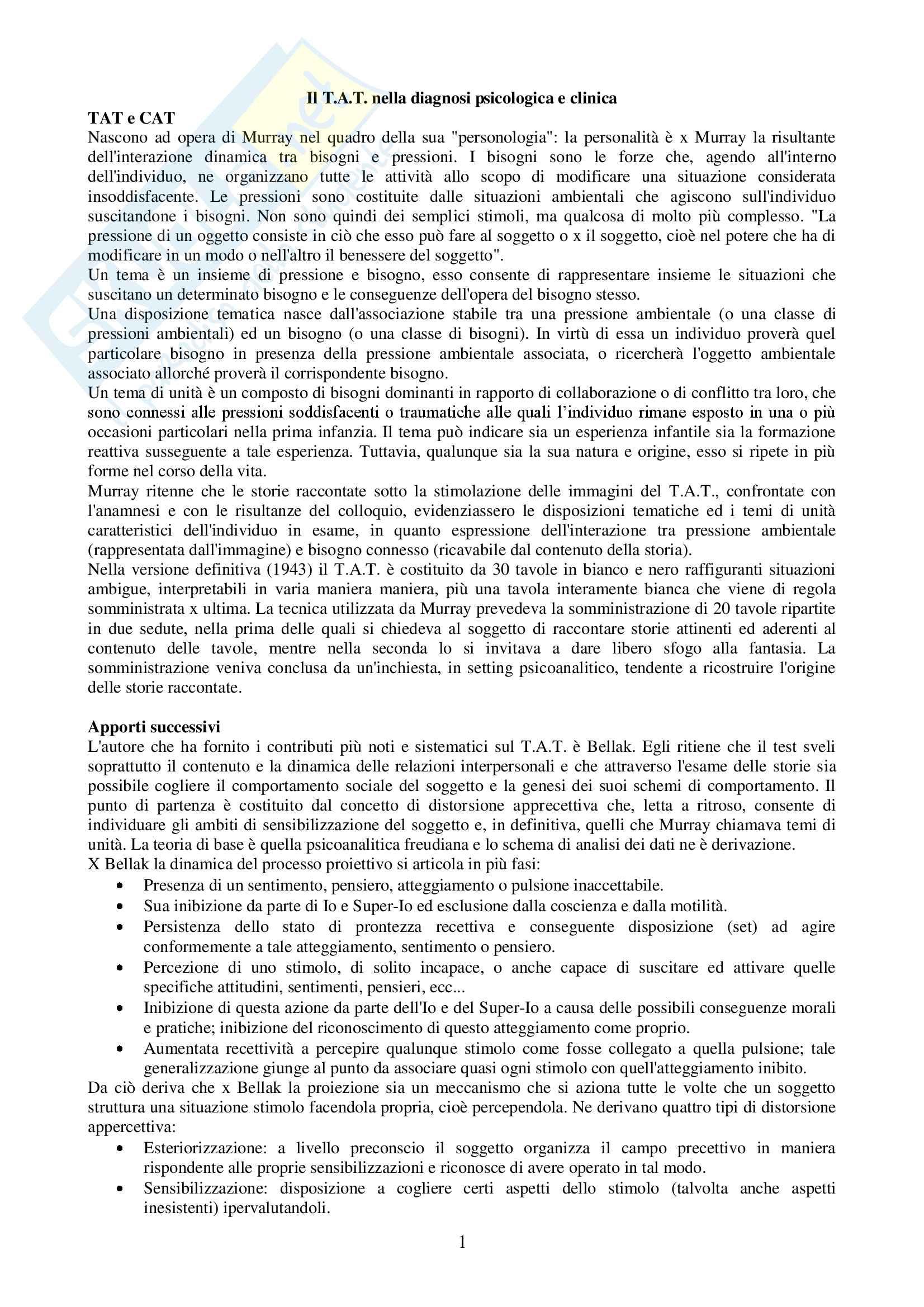 Riassunto esame Psicologia dei test di personalità, Prof. Santo Di Nuovo, testo consigliato Il TAT nella diagnosi psicologica e clinica, Franco Angeli Milano, 1998