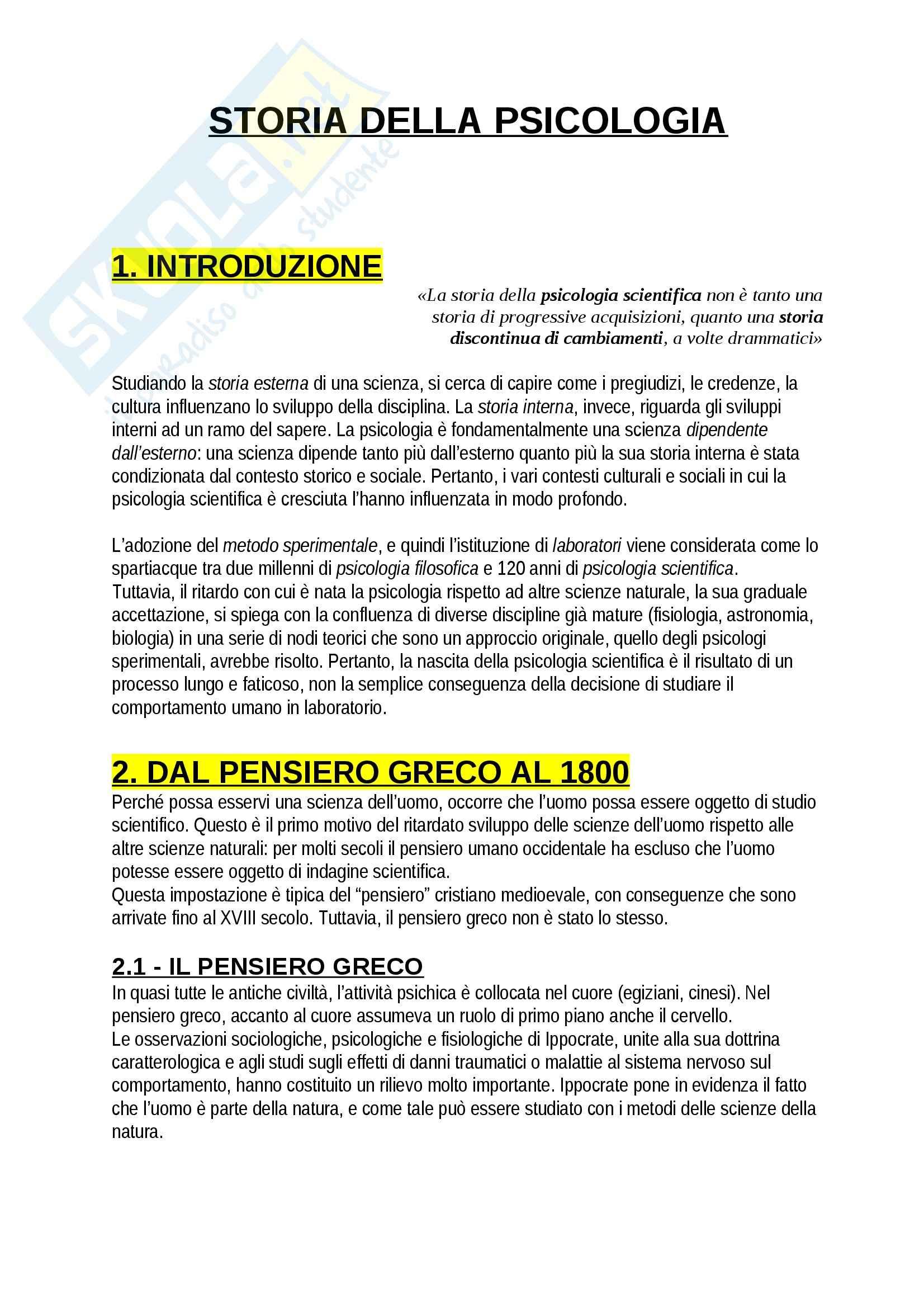 Riassunto esame Psicologia, prof. Giannini, libro consigliato Storia della psicologia, Legrenzi