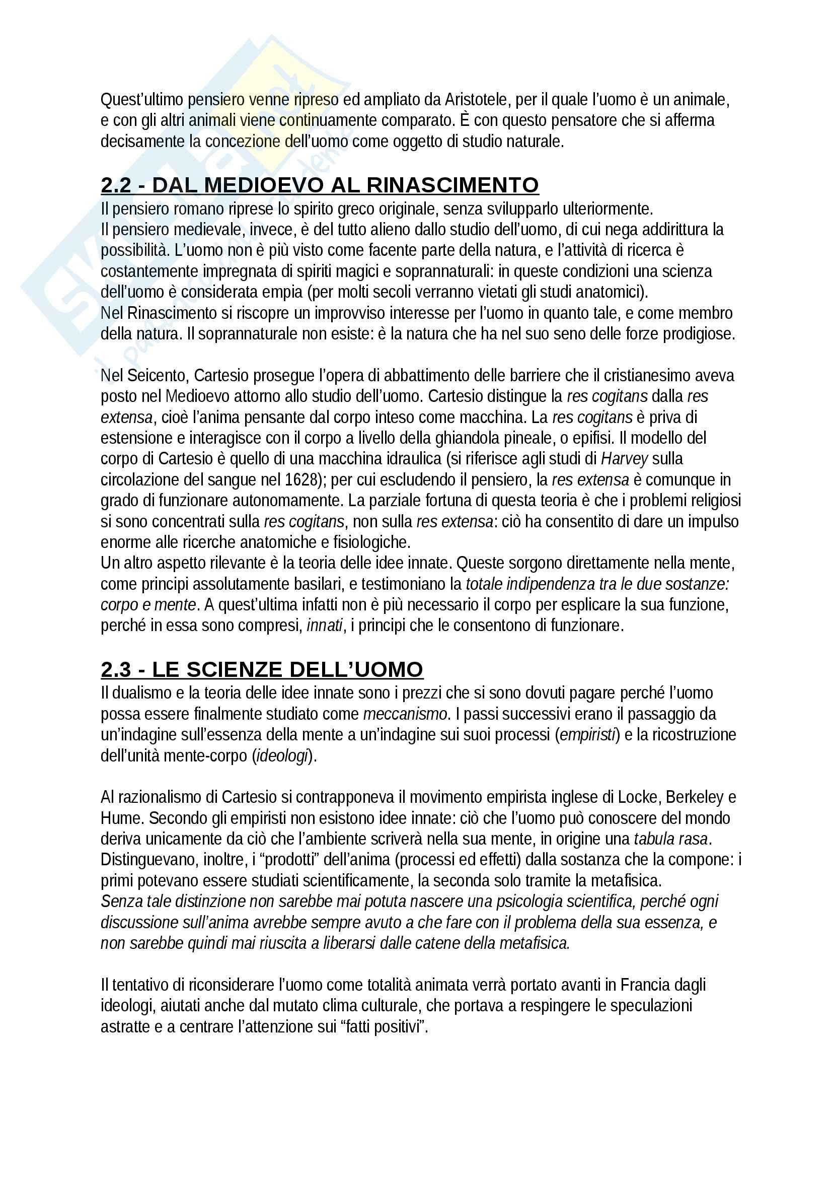 Riassunto esame Psicologia, prof. Giannini, libro consigliato Storia della psicologia, Legrenzi Pag. 2