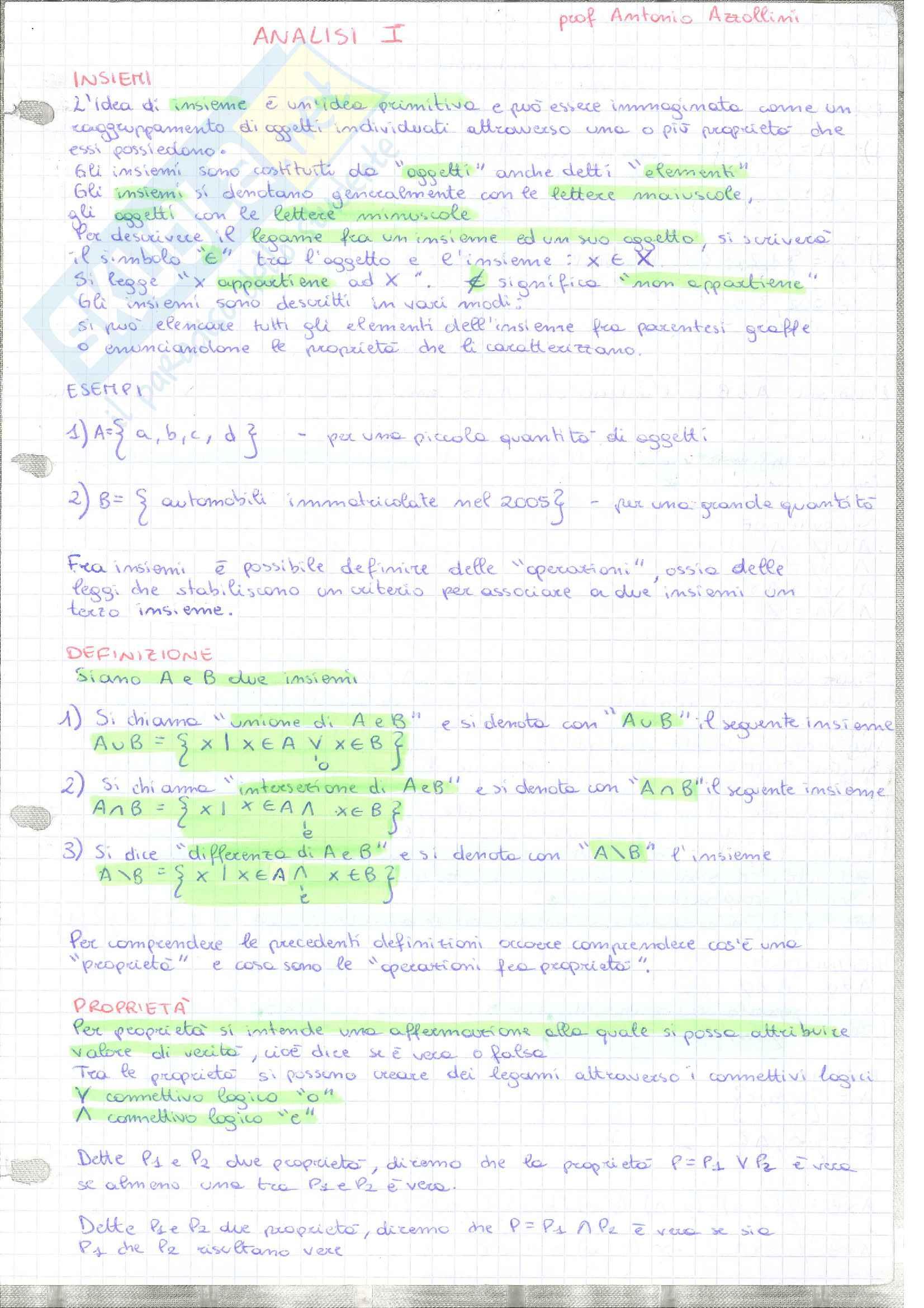 Appunti analisi matematica 1