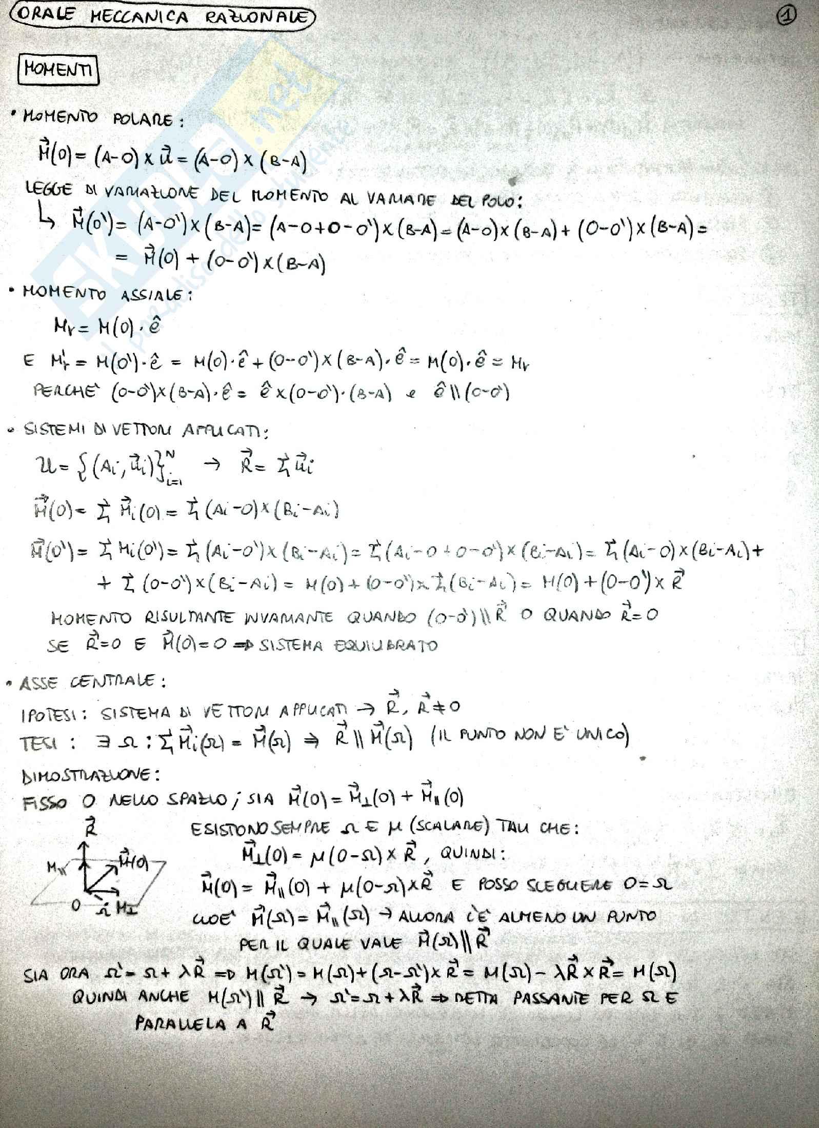 Riassunto Meccanica Razionale, prof. Demeio