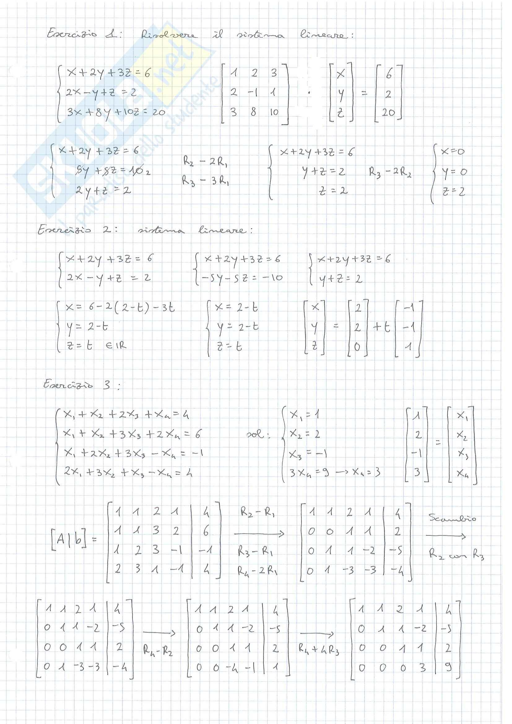 Esercizi Algebra Lineare