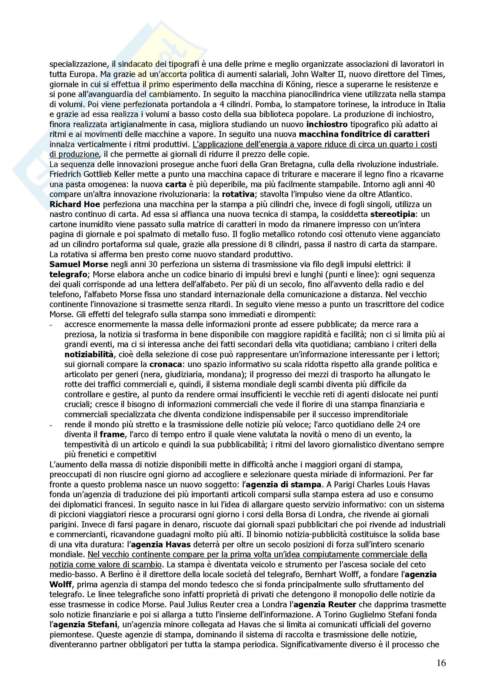 Riassunto esame Storia del Giornalismo e delle Comunicazioni Sociali, prof. Focardi, libro consigliato Storia del Giornalismo, Gozzini Pag. 16