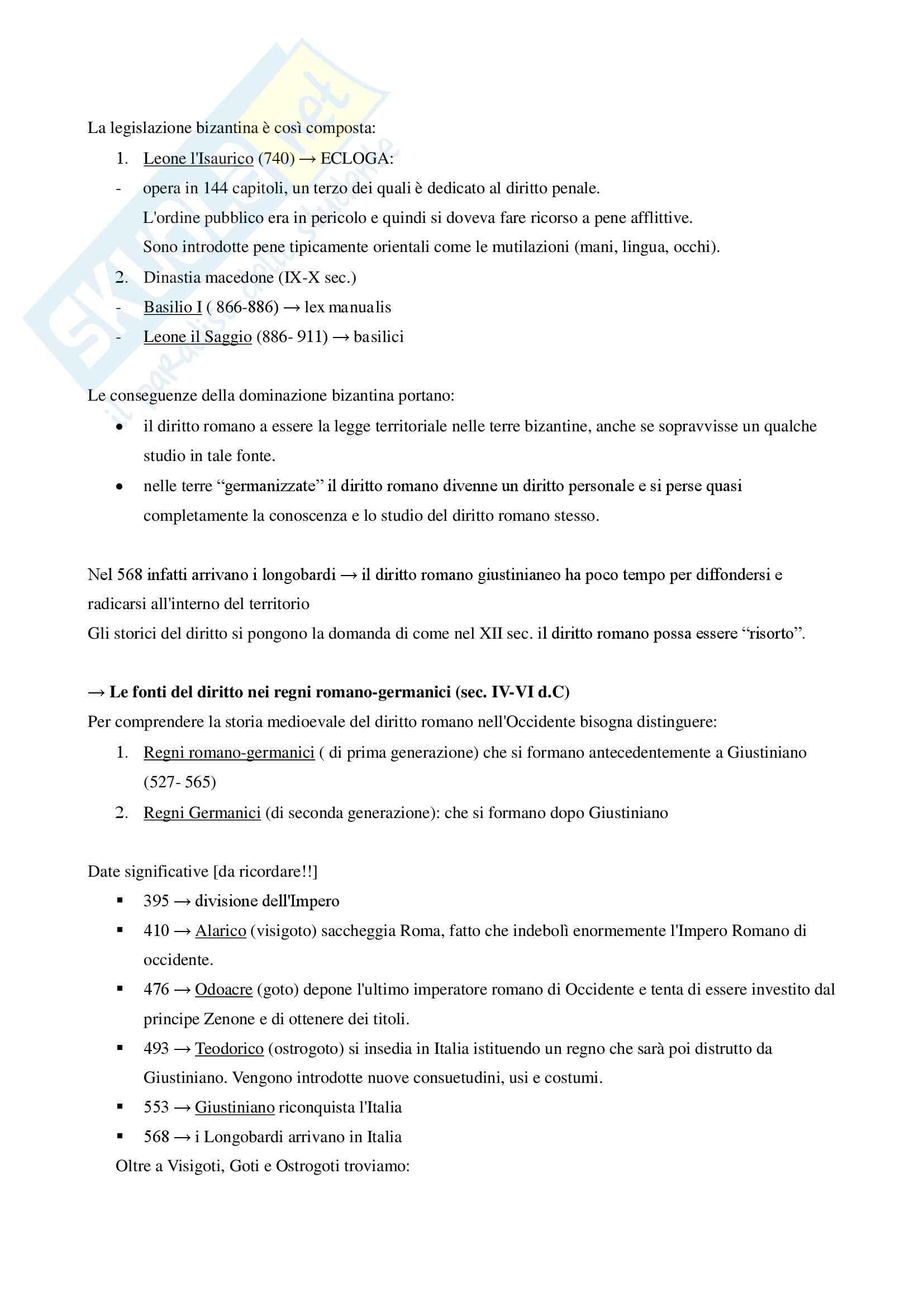 Appunti delle lezioni di storia del diritto medievale e moderno della professoressa Roberta Braccia Pag. 6