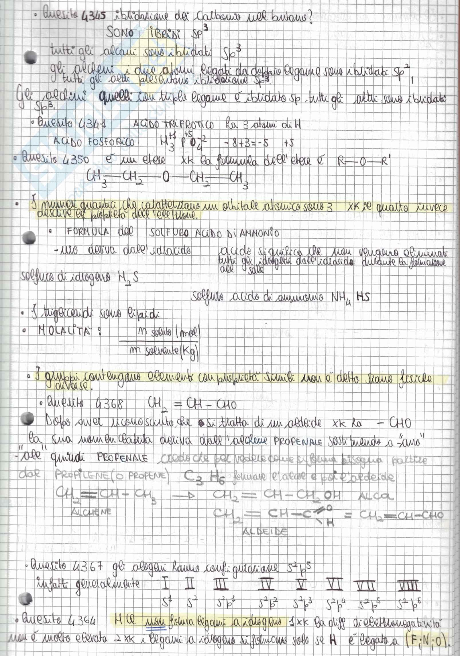 Tutti i quesiti di Chimica Alpha Test con soluzioni e riassunti per l'accesso alle Professioni Sanitarie e Medicina - Parte 1 Pag. 6
