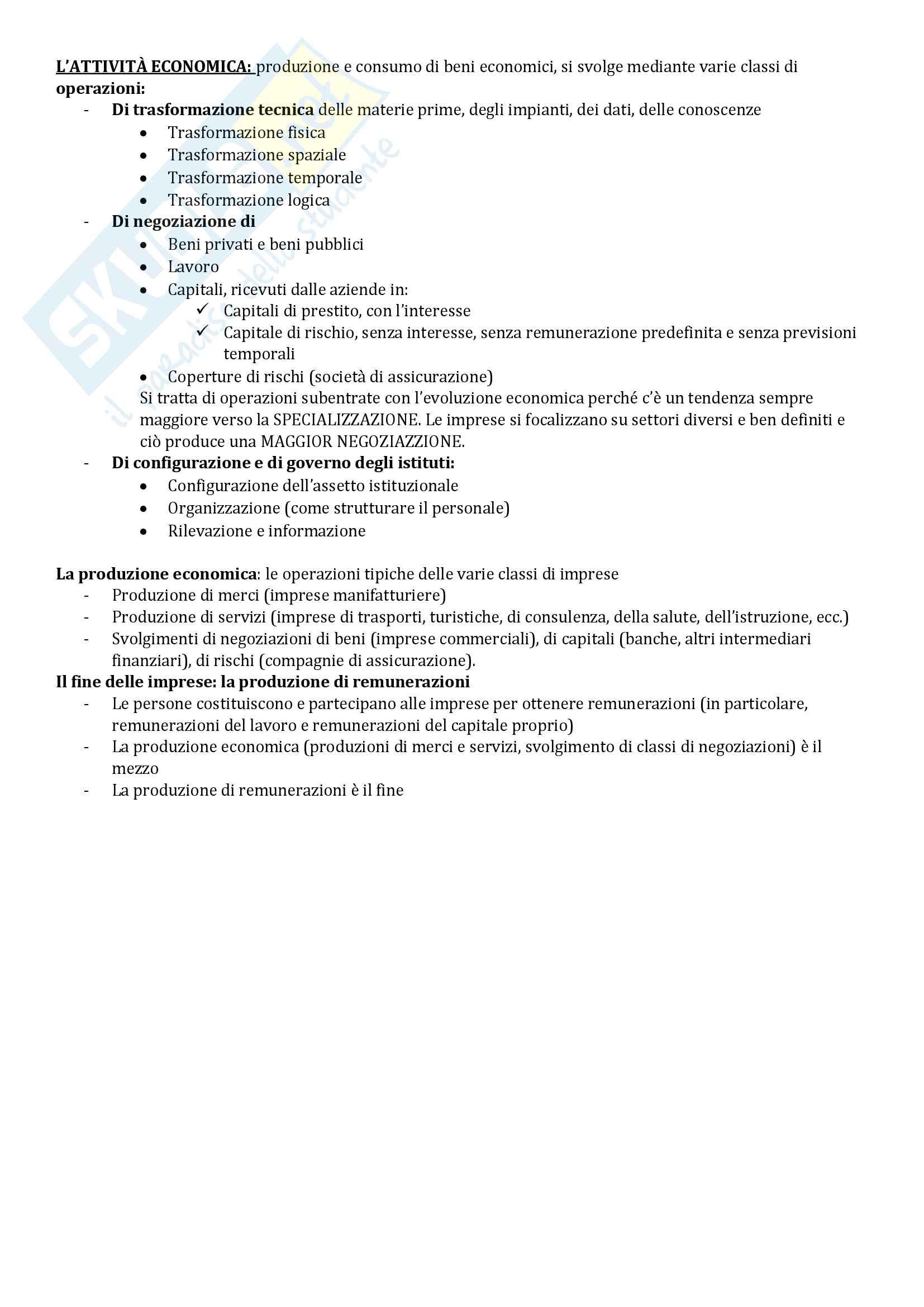 Riassunto esame Economia Aziendale, libro consigliato Corso di Economia Aziendale. ABC: Airoldi, Brunetti e Coda, Il Mulino