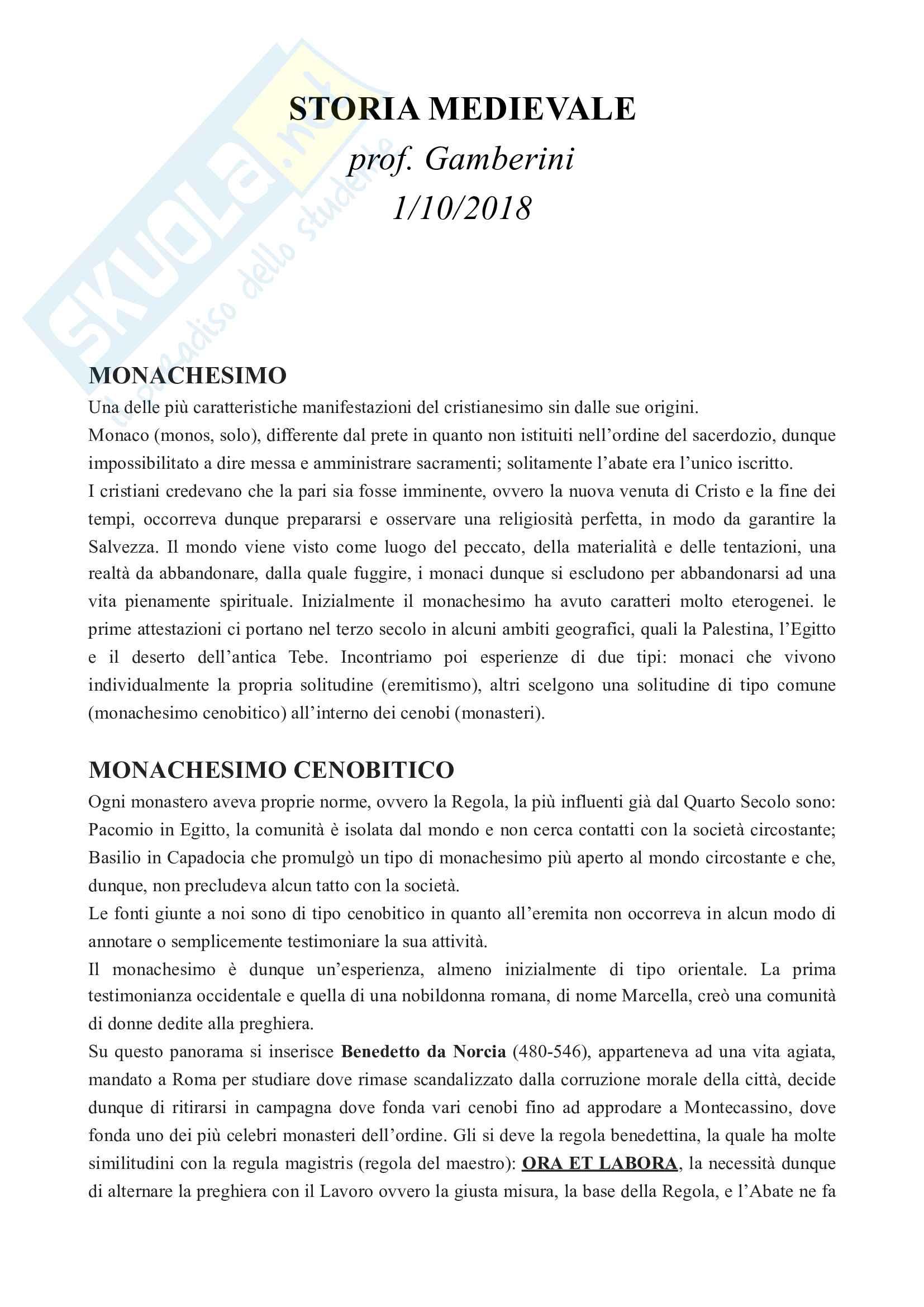 """Appunti Storia Medievale: """"Monachesimo"""""""