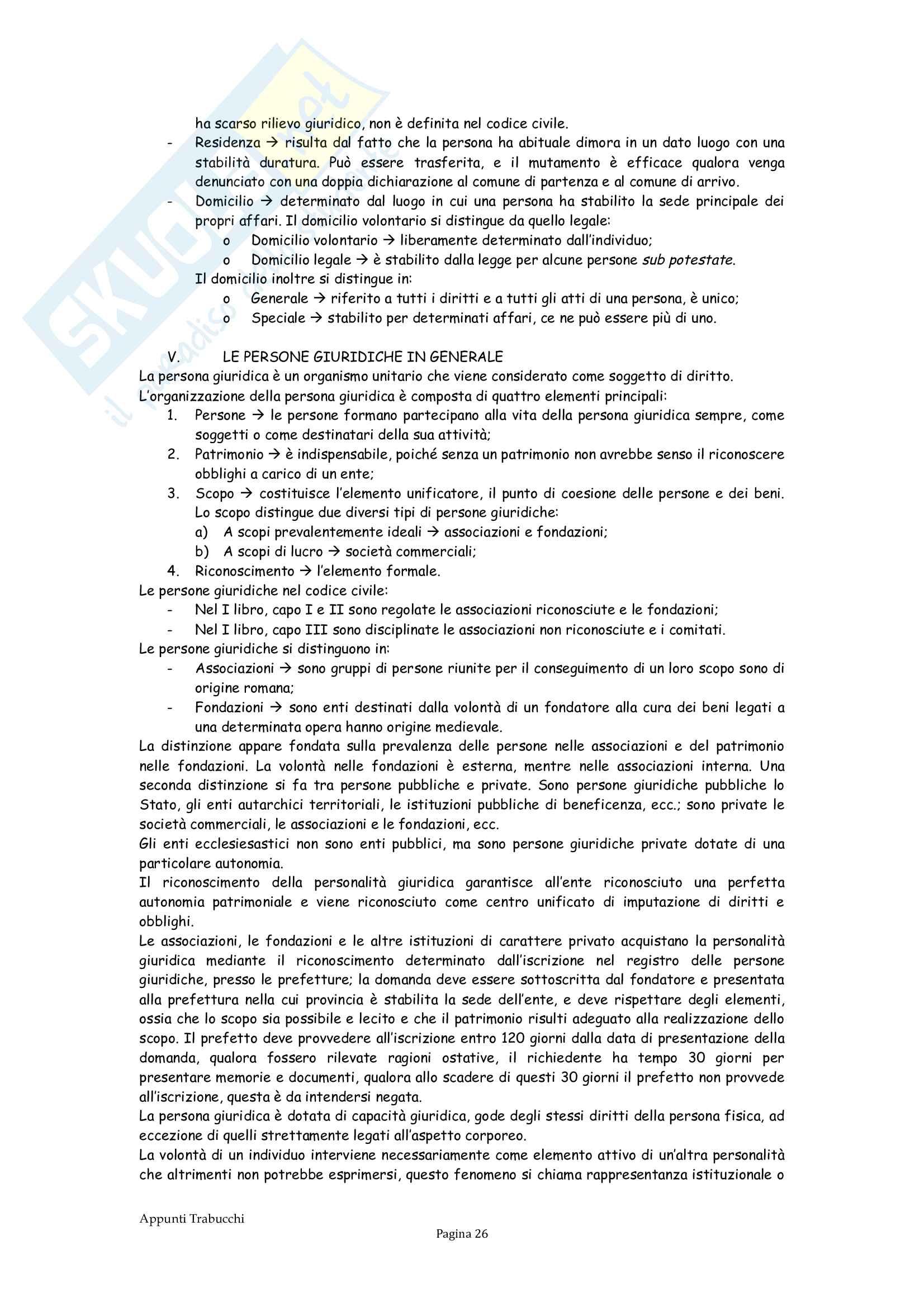 Riassunto esame Diritto privato, prof. Troiano, libro consigliato Istituzioni di diritto civile, Trabucchi Pag. 26
