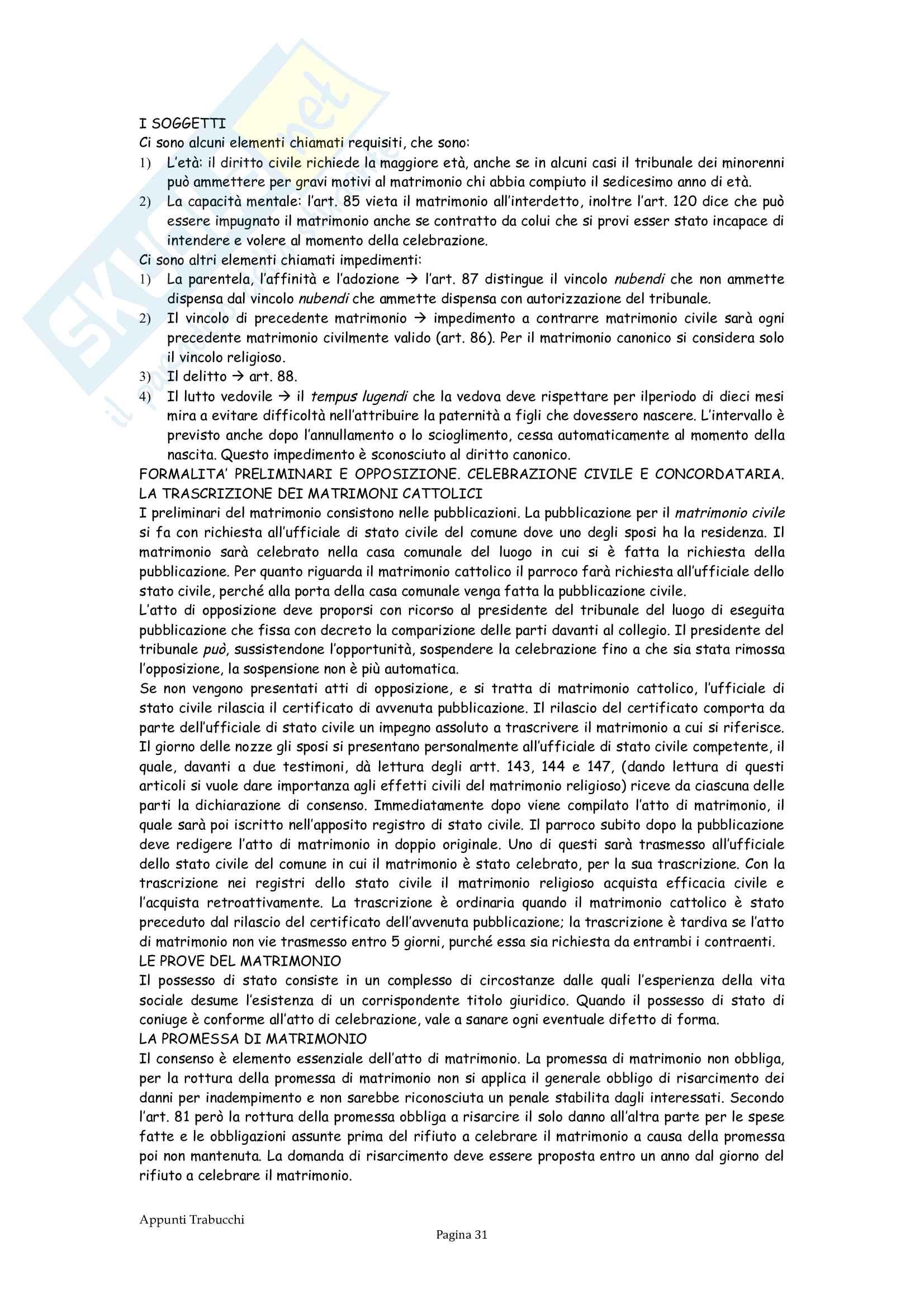 Riassunto esame Diritto privato, prof. Troiano, libro consigliato Istituzioni di diritto civile, Trabucchi Pag. 31