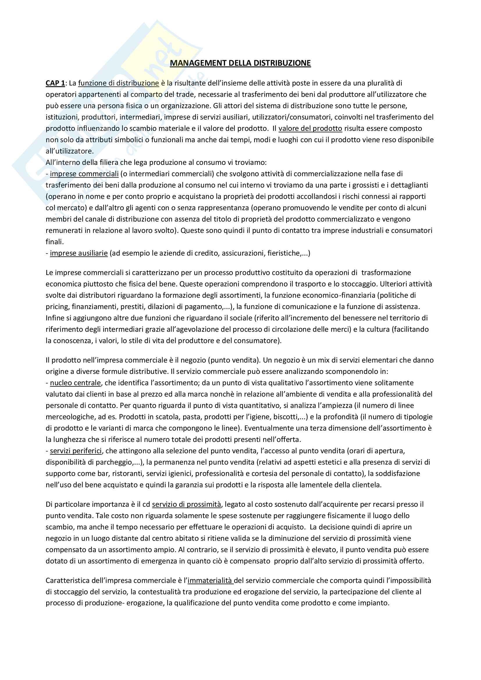 Riassunti e appunti di Management della distribuzione - Prof. Calabrese Foggia Marketing Management