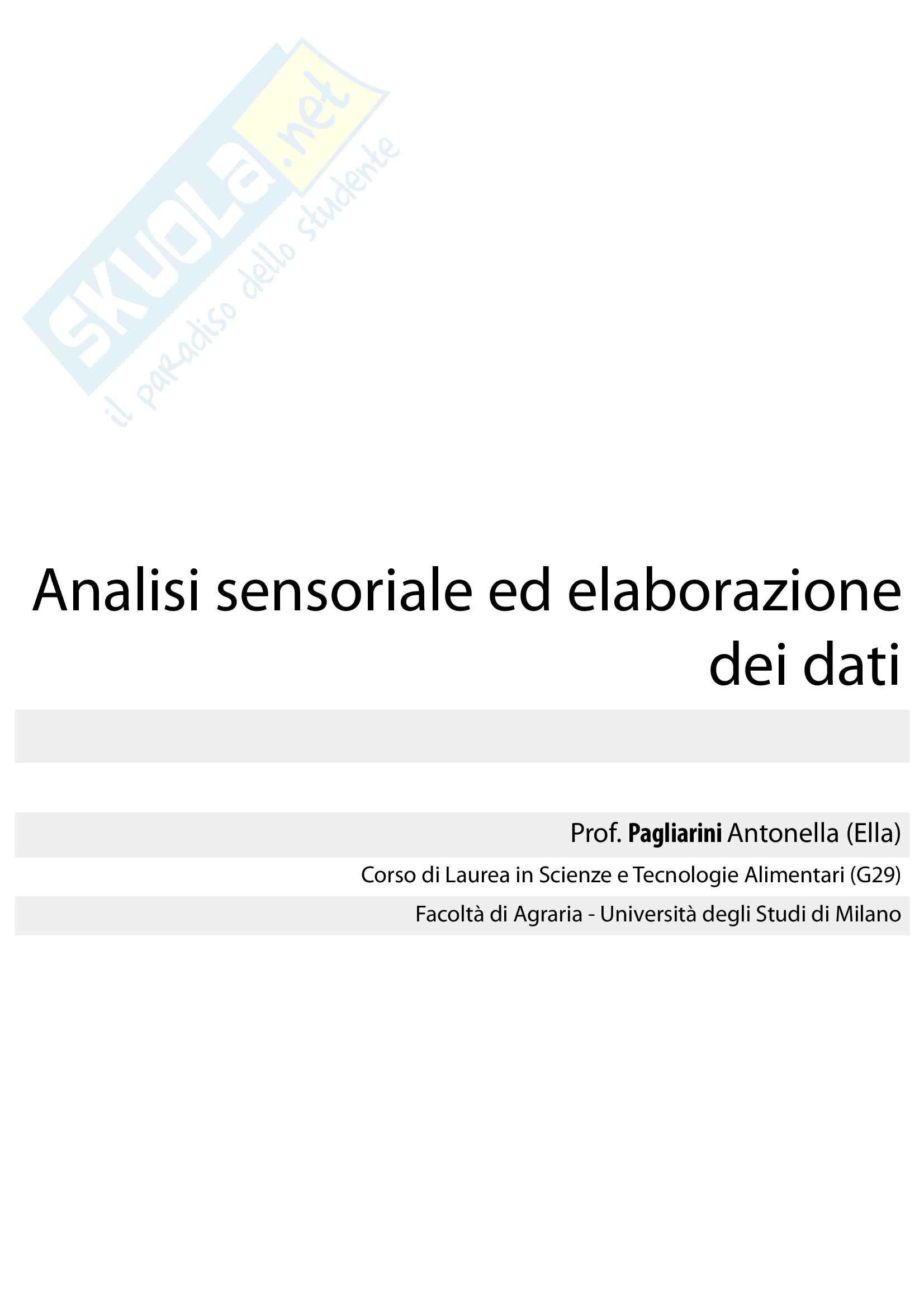 Analisi sensoriale ed elaborazione dati