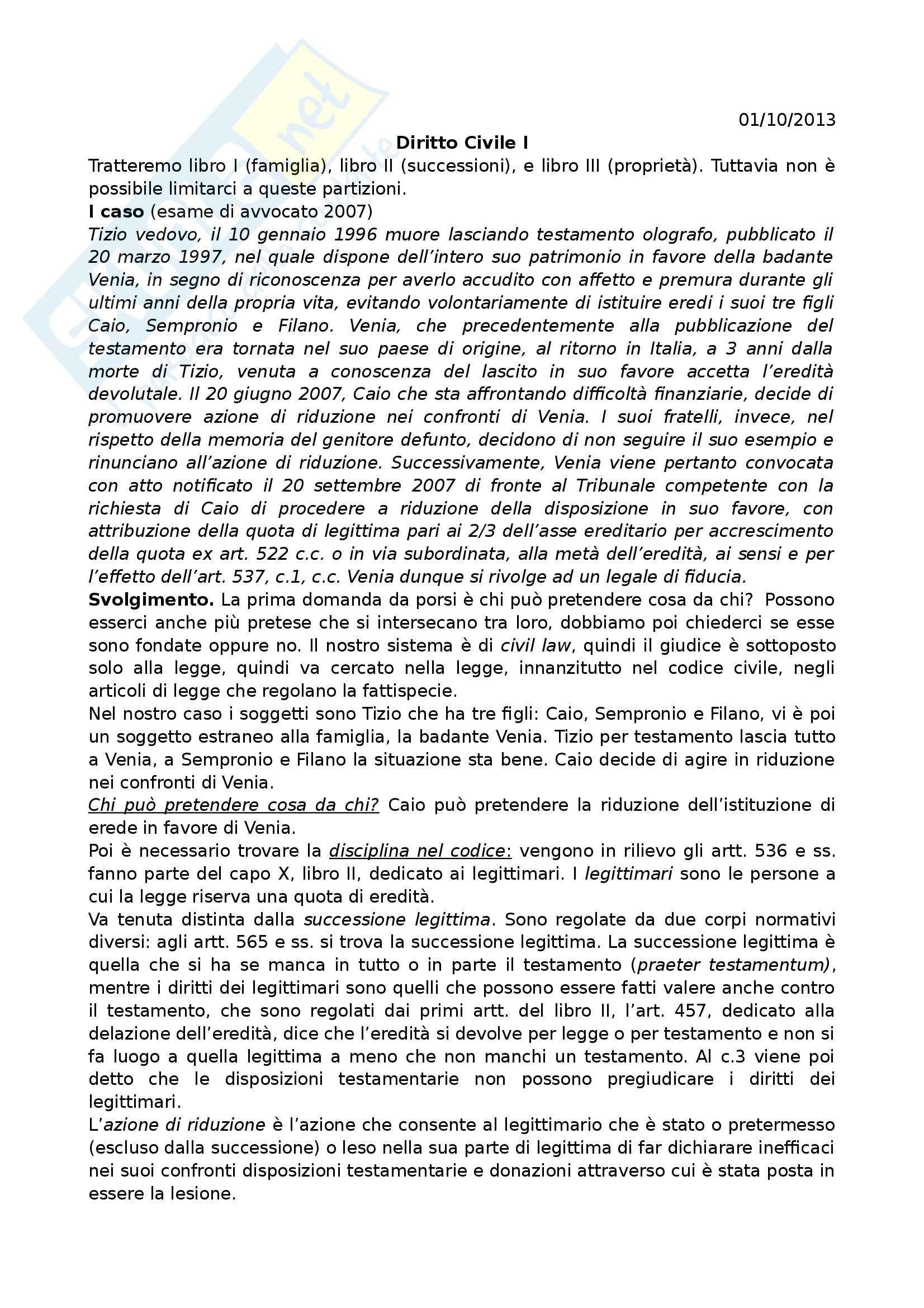 Diritto Civile I - Appunti