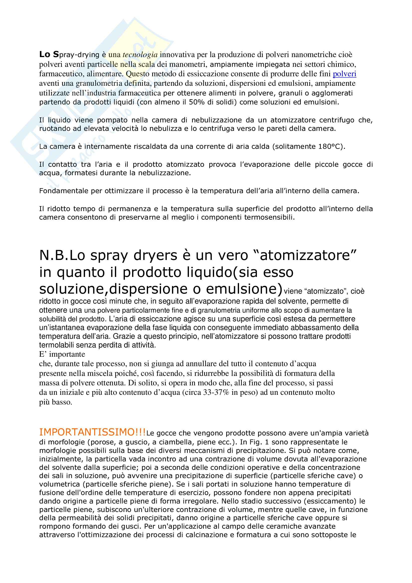 Tecnica farmaceutica - introduzione Spray dryer