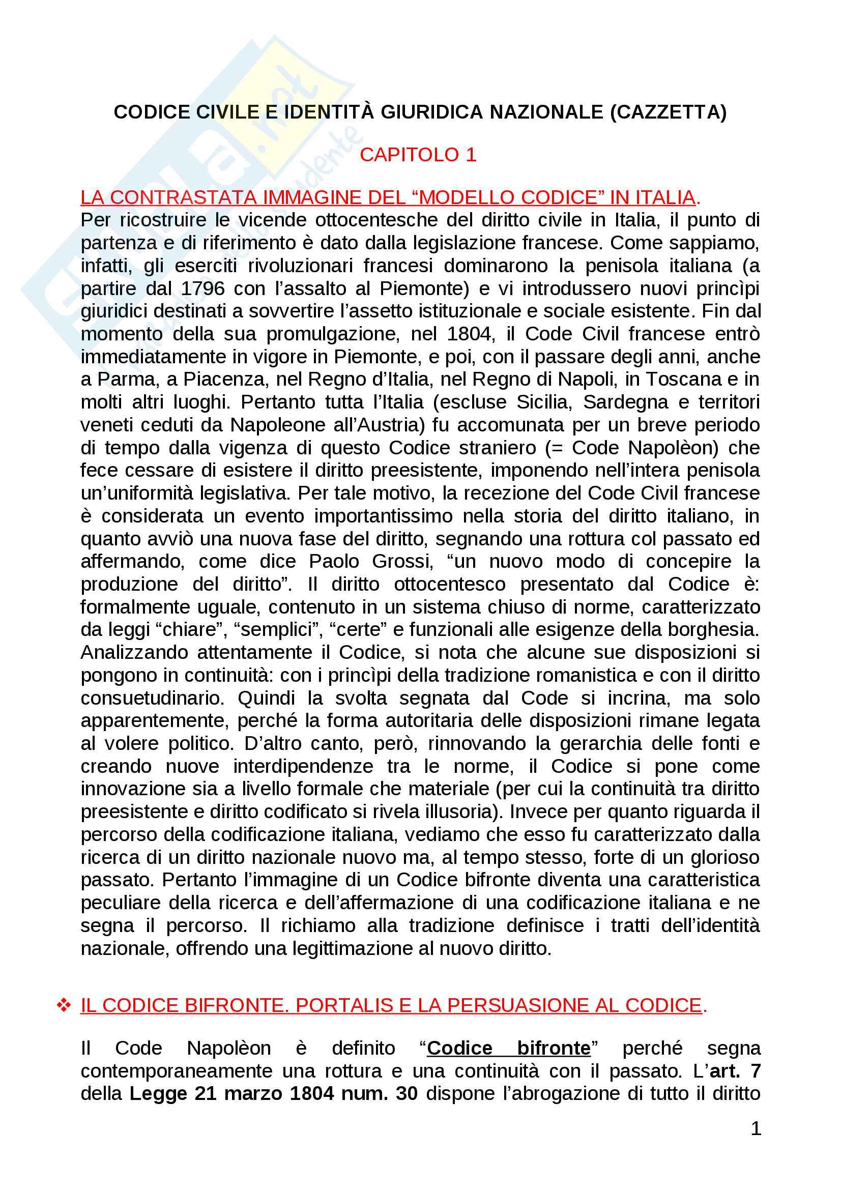 """Riassunto esame Storia delle Codificazioni Moderne, prof. Pace. Libro consigliato """"Codice Civile e identità giuridica nazionale"""" di Giovanni Cazzetta"""