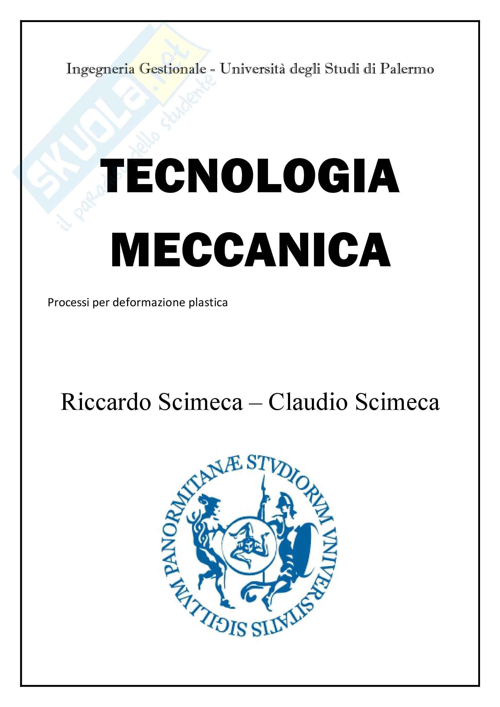 Processi per deformazione plastica,Tecnologia meccanica