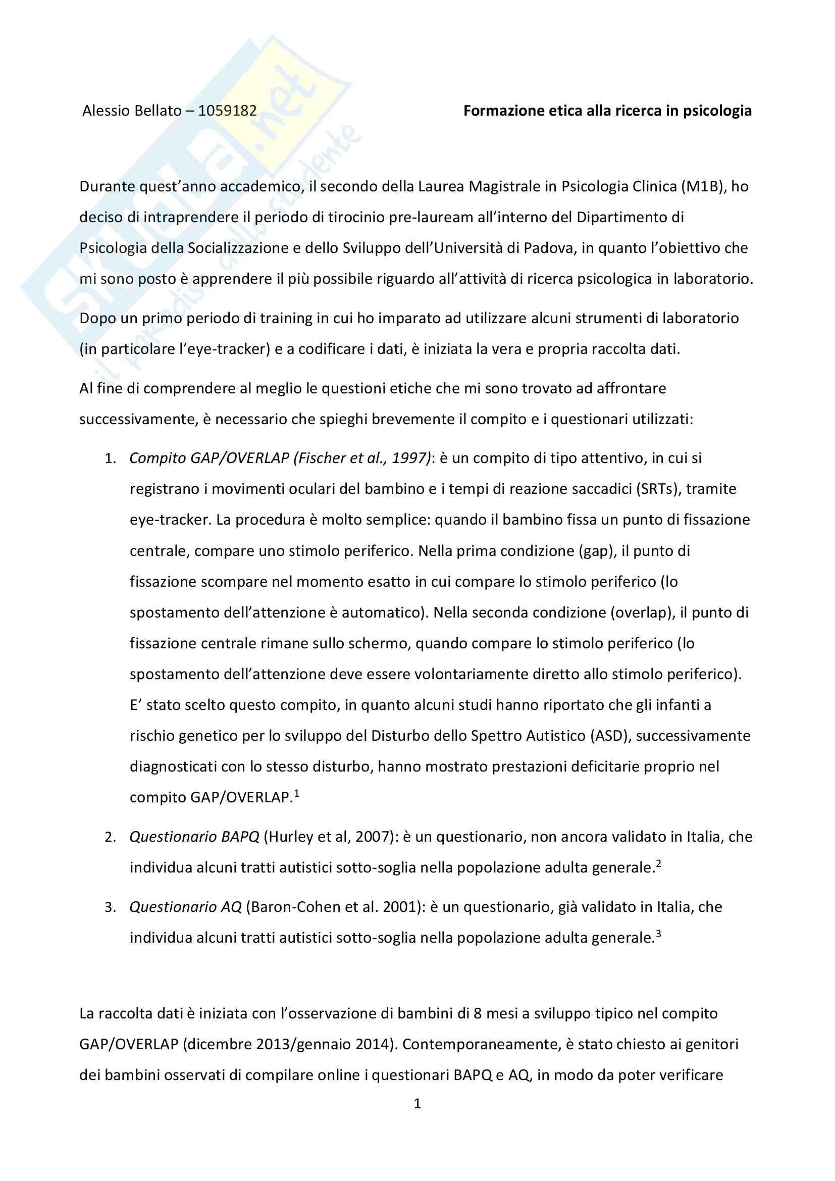 Formazione etica alla ricerca in psicologia - relazione