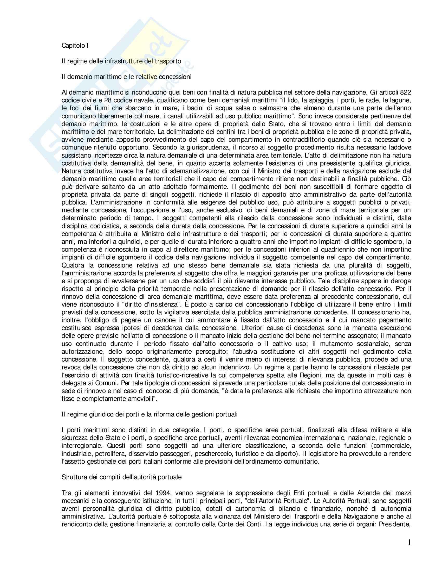 Riassunto esame Diritto della Navigazione, prof. Zunarelli, libro consigliato Lezioni di Diritto della Navigazione