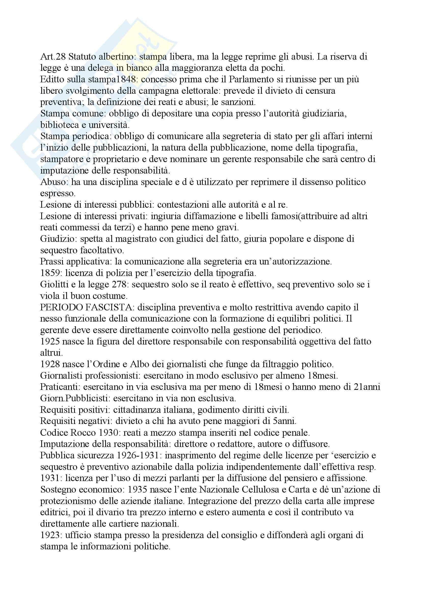 Diritto dell'informazionee della comunicazione Pag. 2