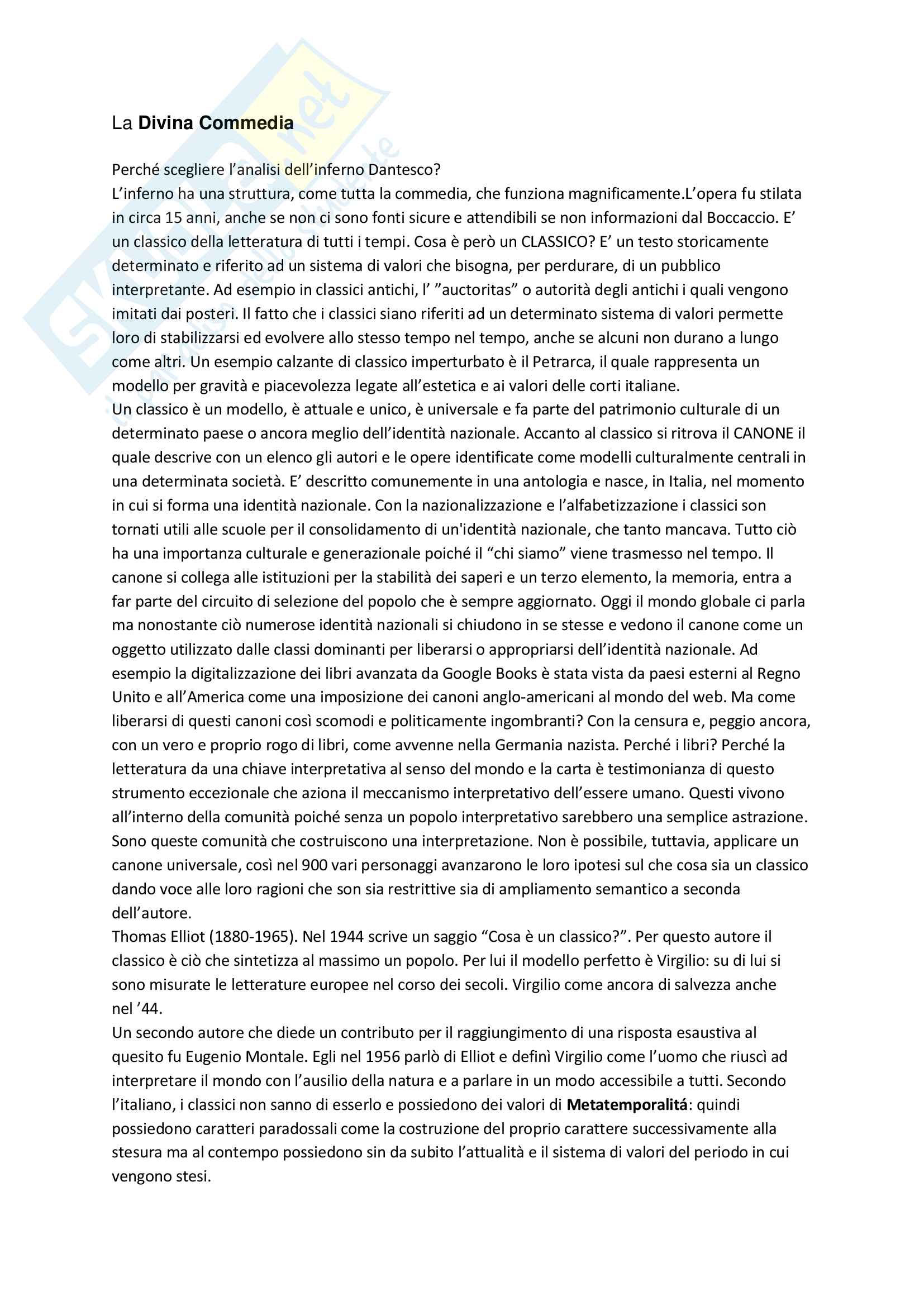 Divina Commedia Dante Alighieri e Canto I, II e III