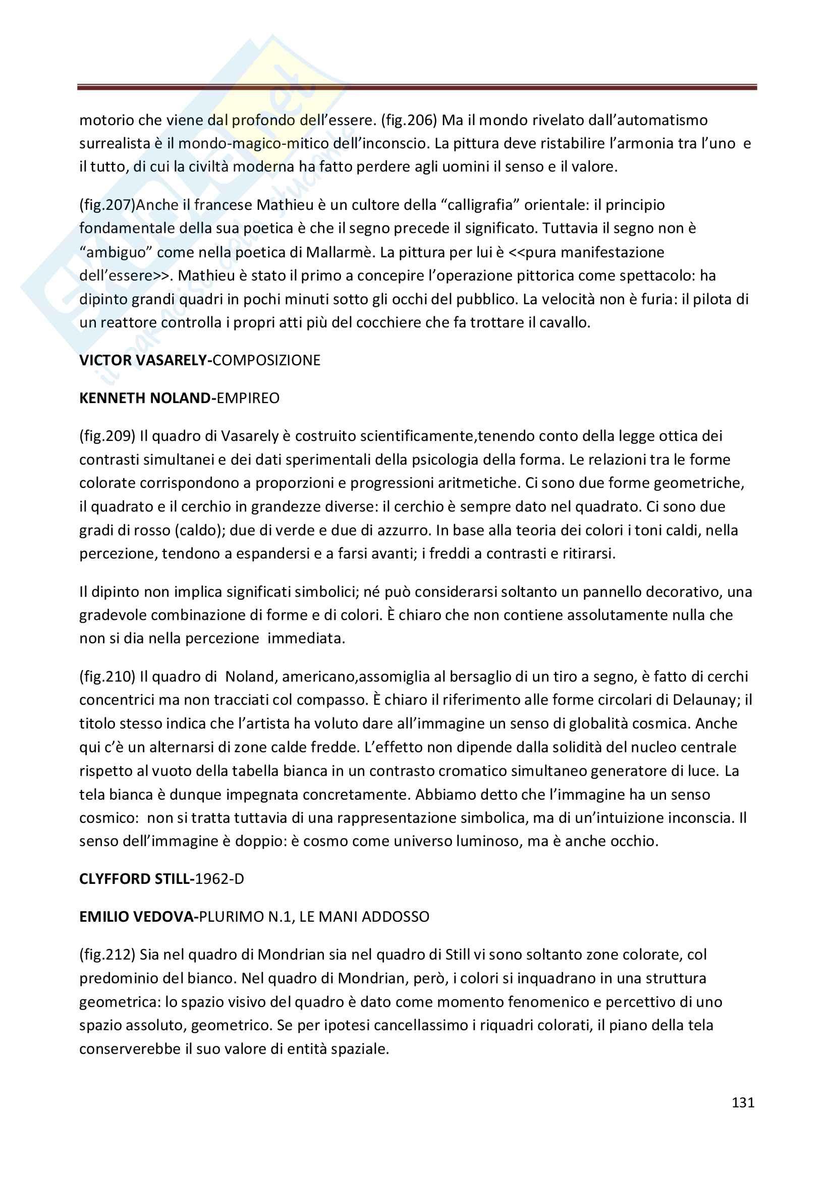 Riassunto esame Storia dell'Arte Contemporanea, prof. Bianchino, libro consigliato L'Arte Moderna, Oliva Pag. 131