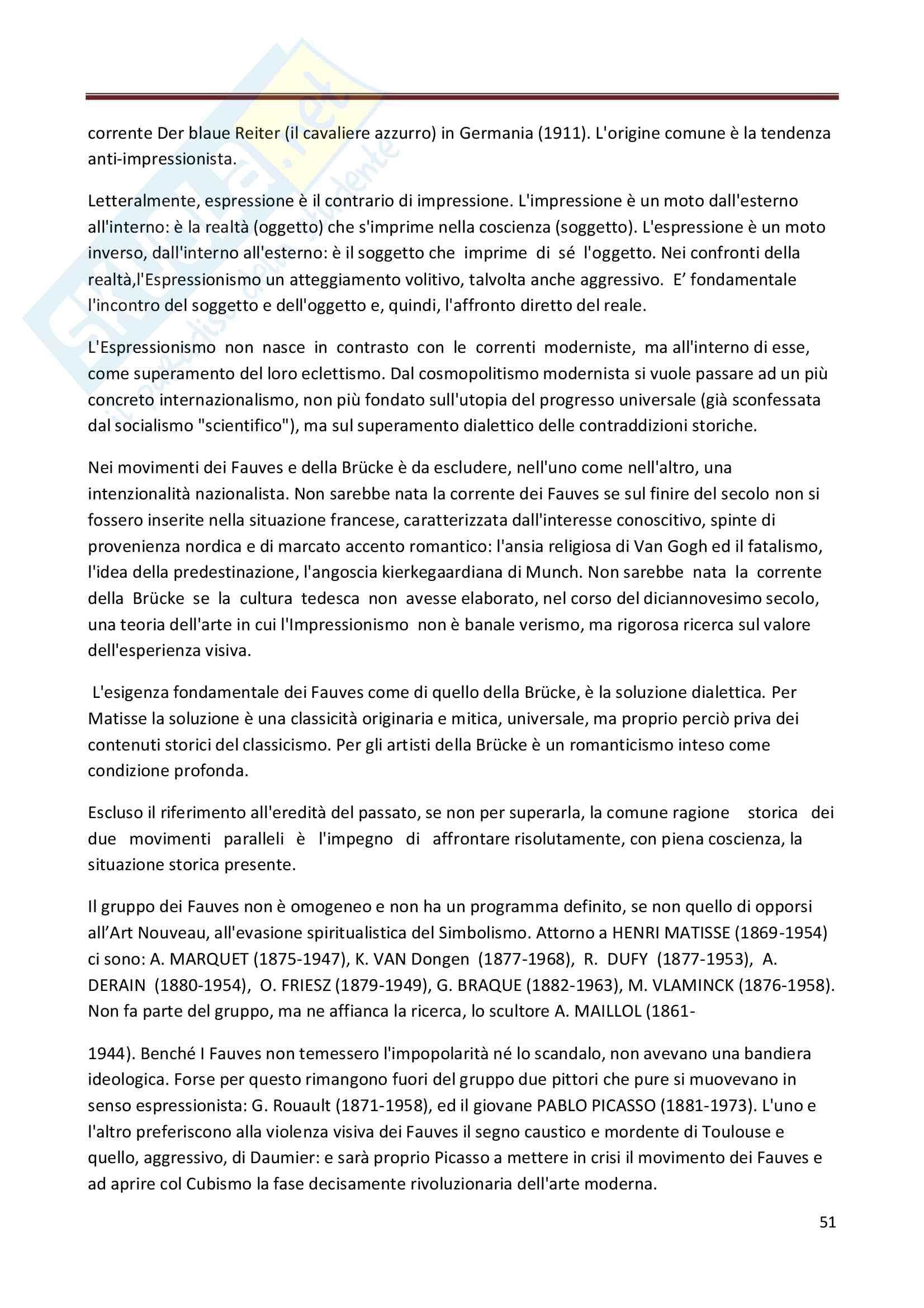 Riassunto esame Storia dell'Arte Contemporanea, prof. Bianchino, libro consigliato L'Arte Moderna, Oliva Pag. 51