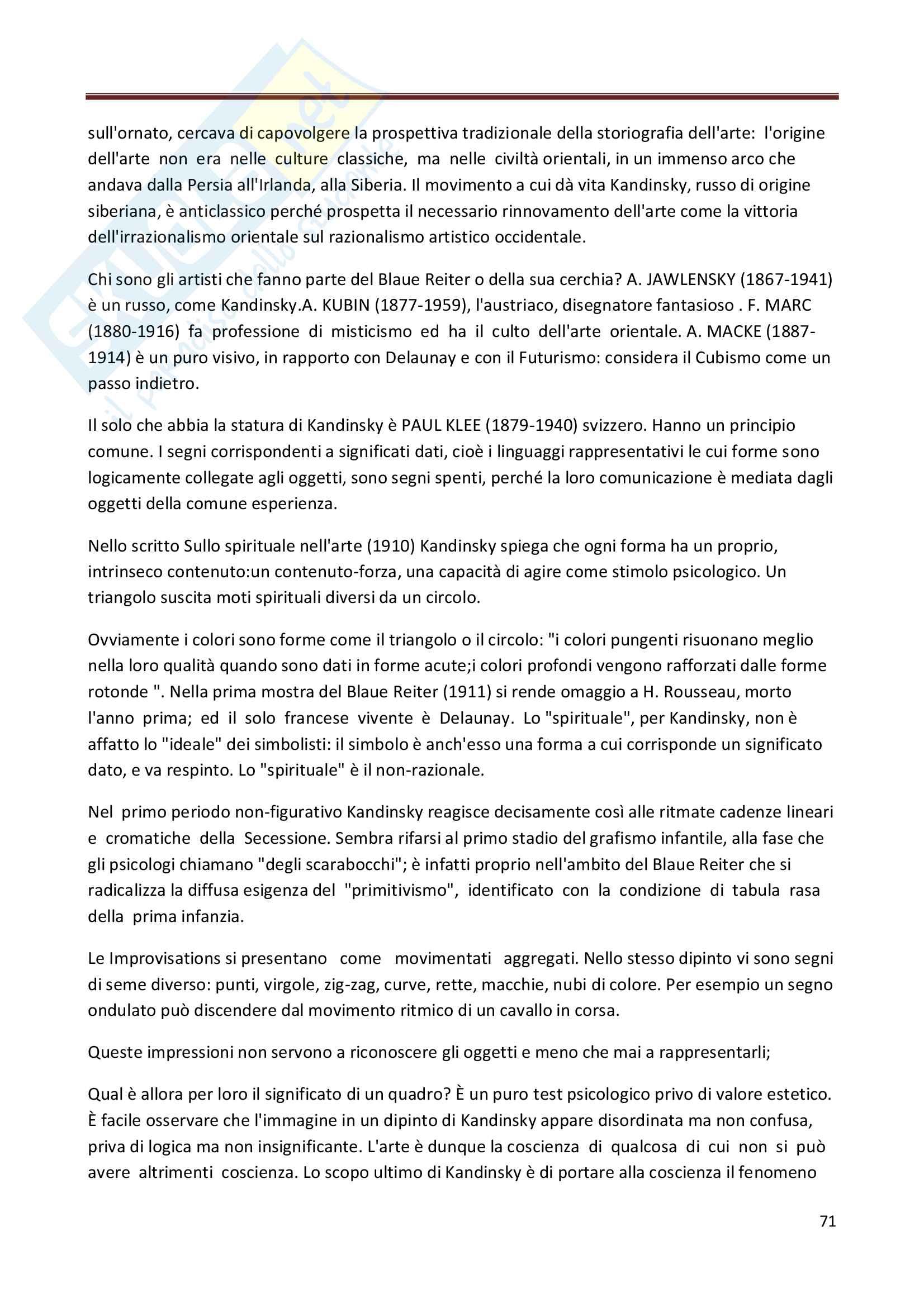 Riassunto esame Storia dell'Arte Contemporanea, prof. Bianchino, libro consigliato L'Arte Moderna, Oliva Pag. 71