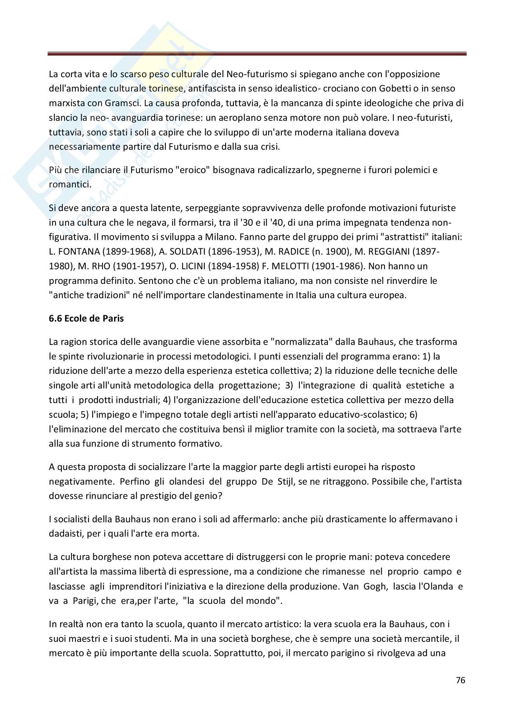 Riassunto esame Storia dell'Arte Contemporanea, prof. Bianchino, libro consigliato L'Arte Moderna, Oliva Pag. 76