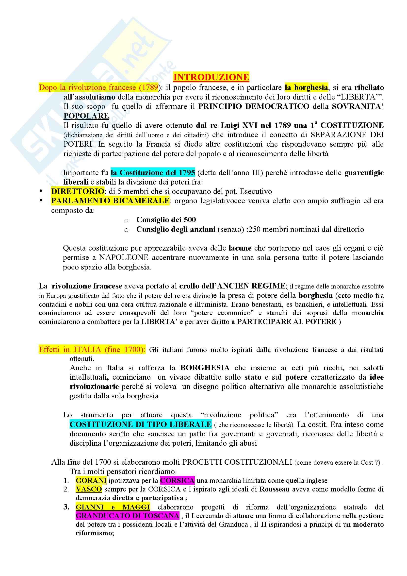 Riassunto esame Storia del diritto costituzionale, prof. Girotto, libro consigliato Storia Costituzionale d'Italia, Ghisalberti