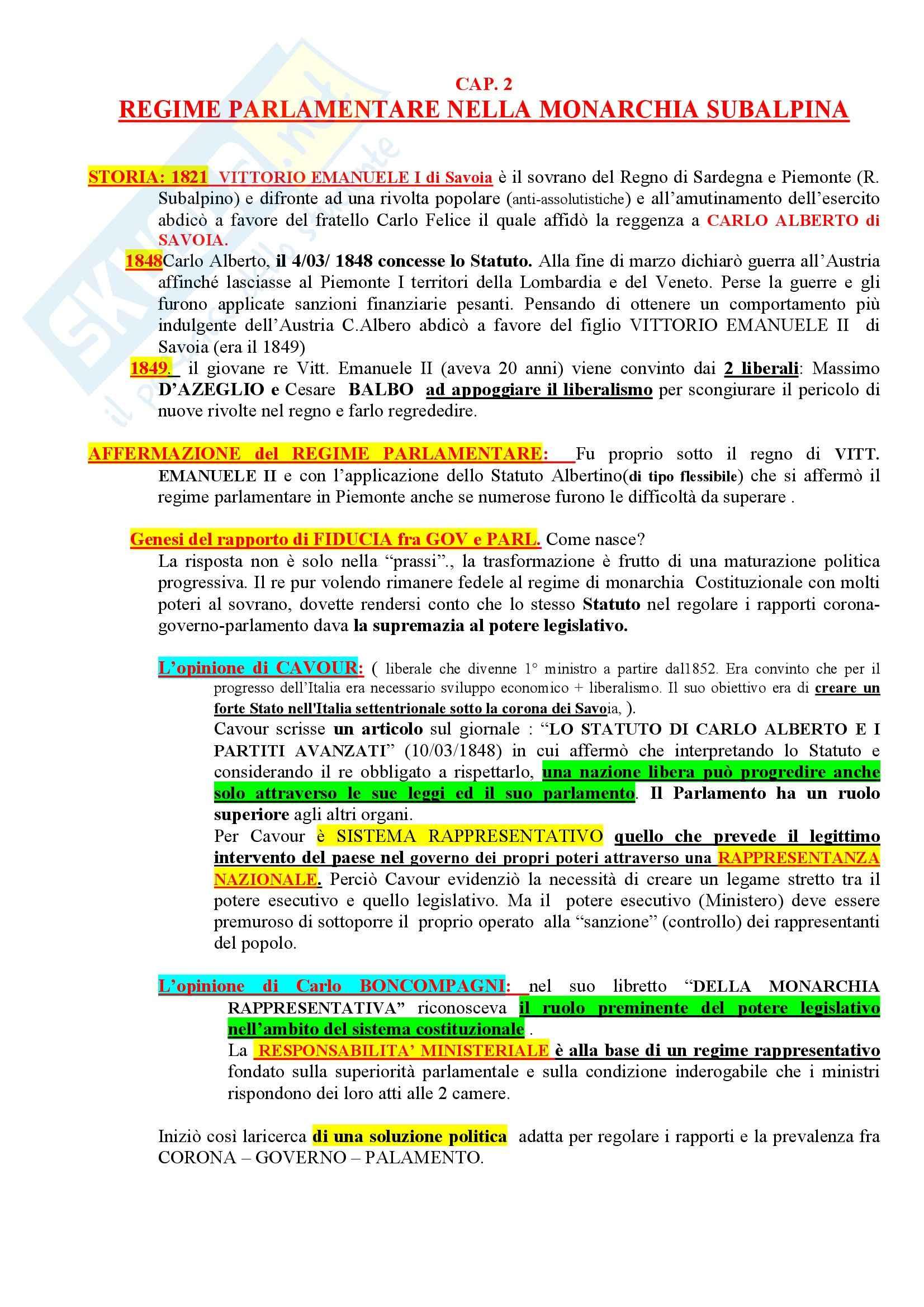 Riassunto esame Storia del diritto costituzionale, prof. Girotto, libro consigliato Storia Costituzionale d'Italia, Ghisalberti Pag. 11