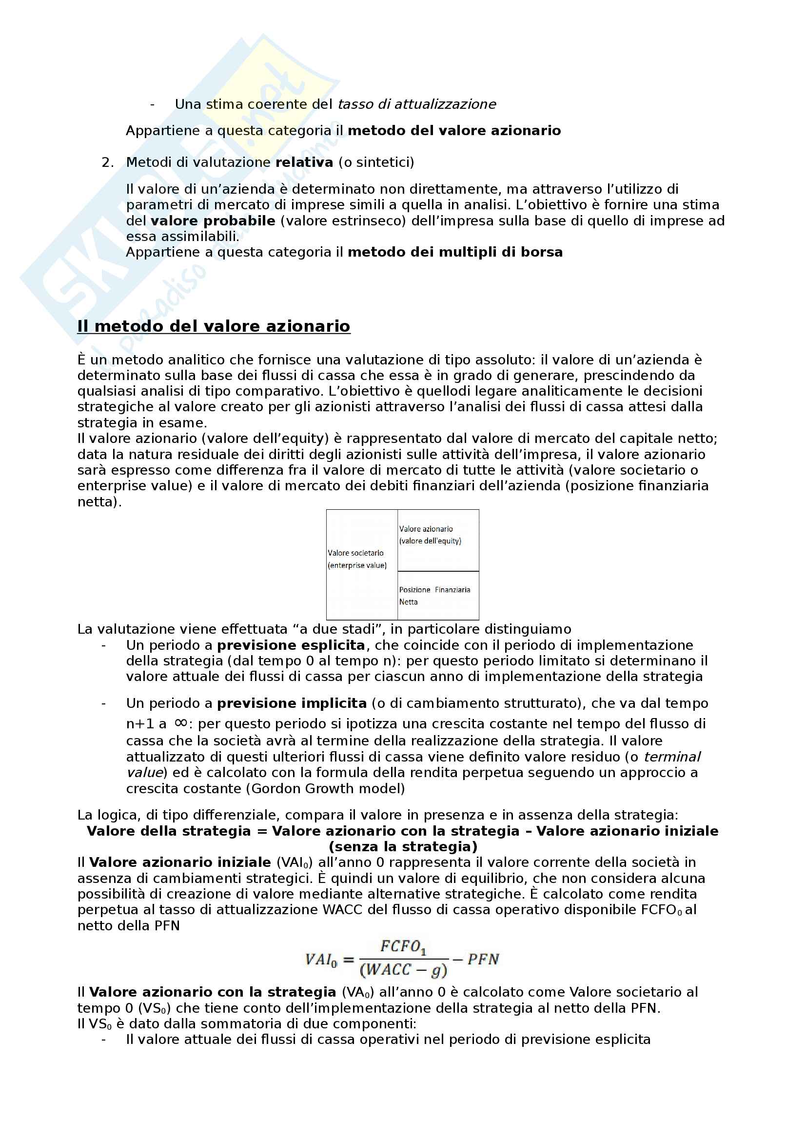 La valutazione finanziaria delle strategie Pag. 2