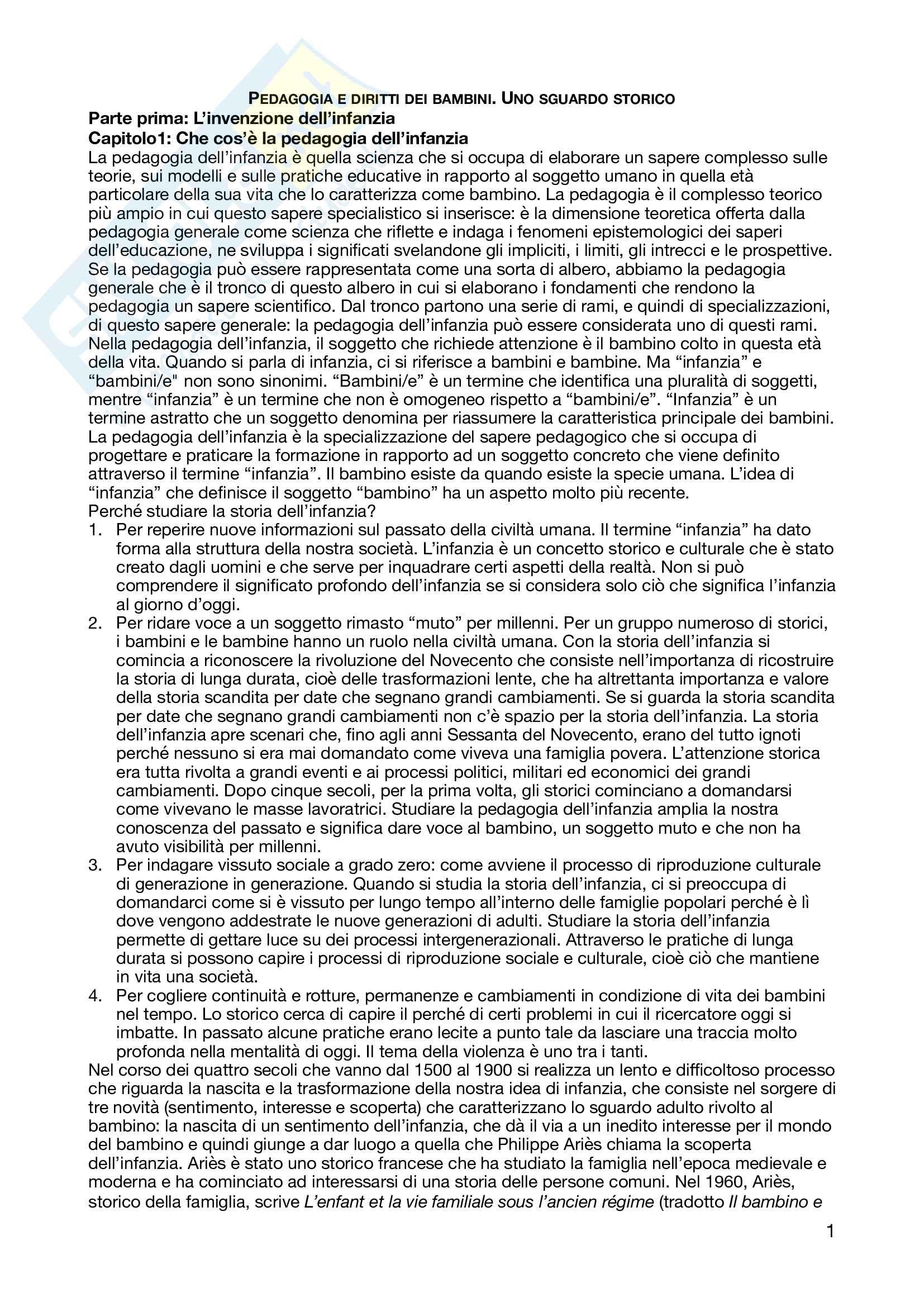 Riassunto esame pedagogia dell'infanzia, prof. Macinai, libro consigliato Pedagogia e diritti dei bambini. Uno sguardo storico, Macinai