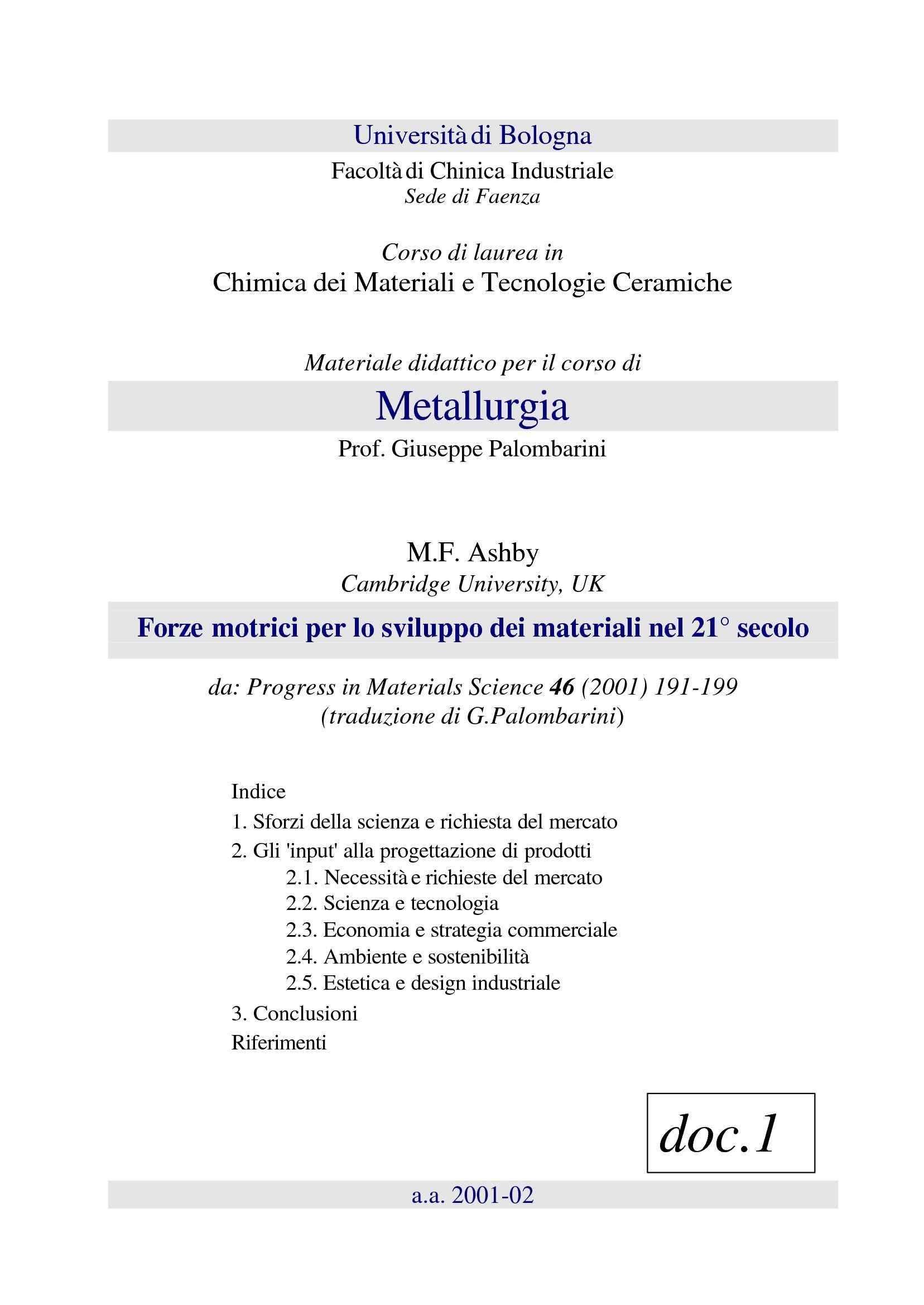dispensa G. Palombarini Metallurgia