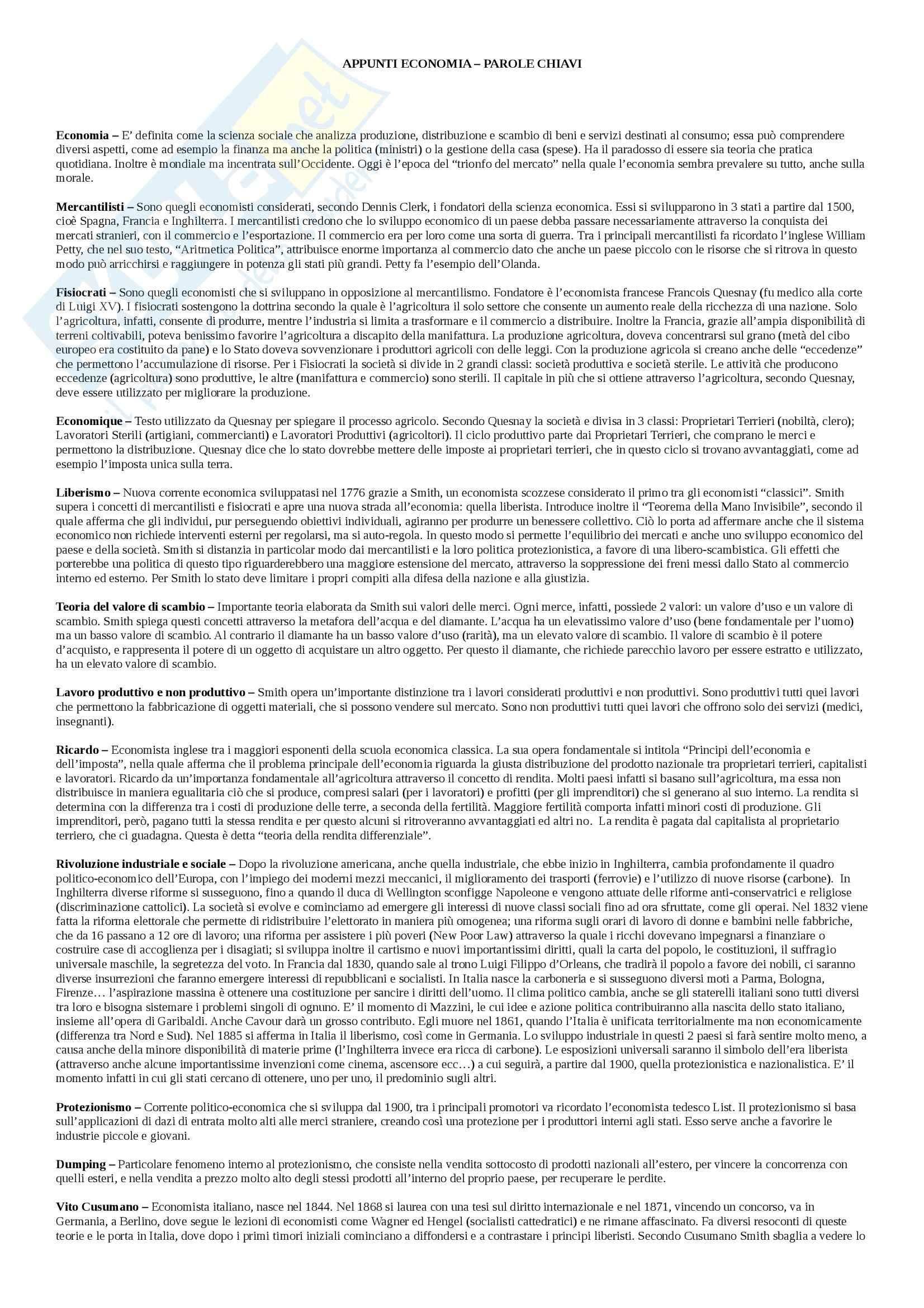 Costruzione di un sapere sociale: Appunti di Economia