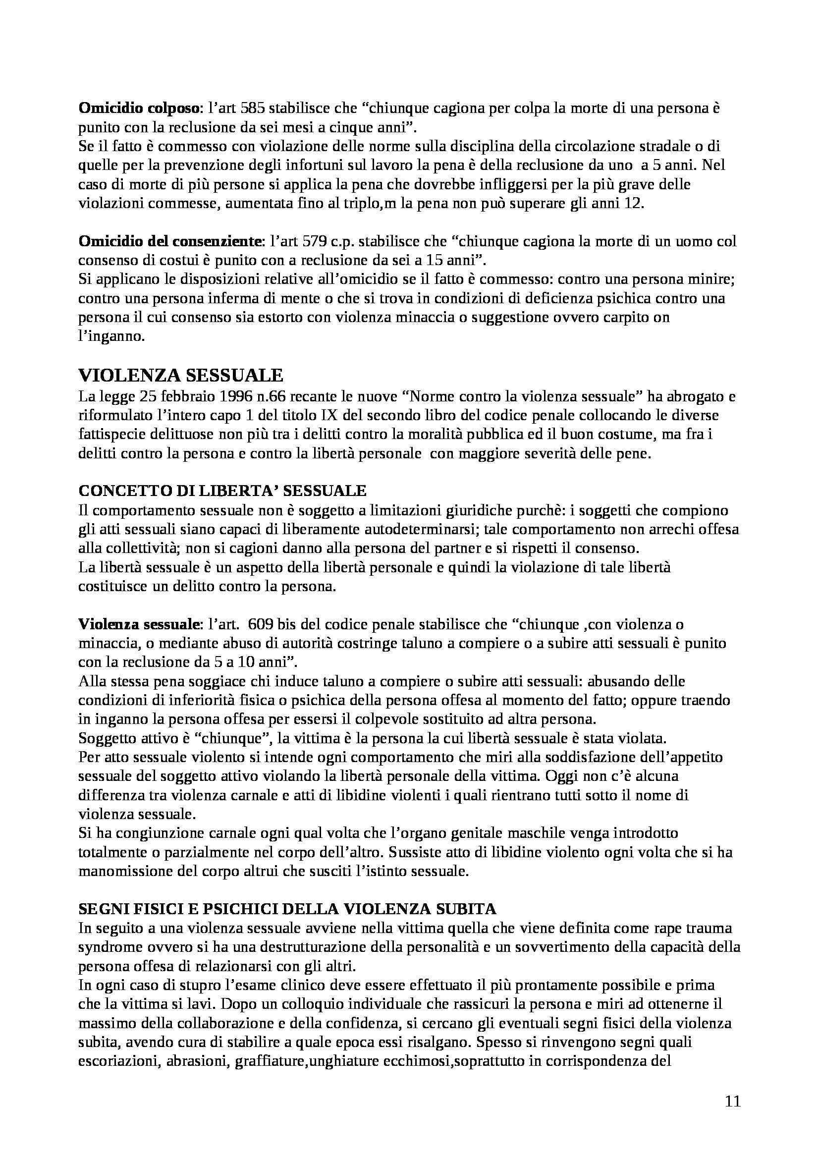 Riassunto esame Medicina legale, prof. Landi, libro consigliato Istituzioni di medicina legale, Puccini Pag. 11