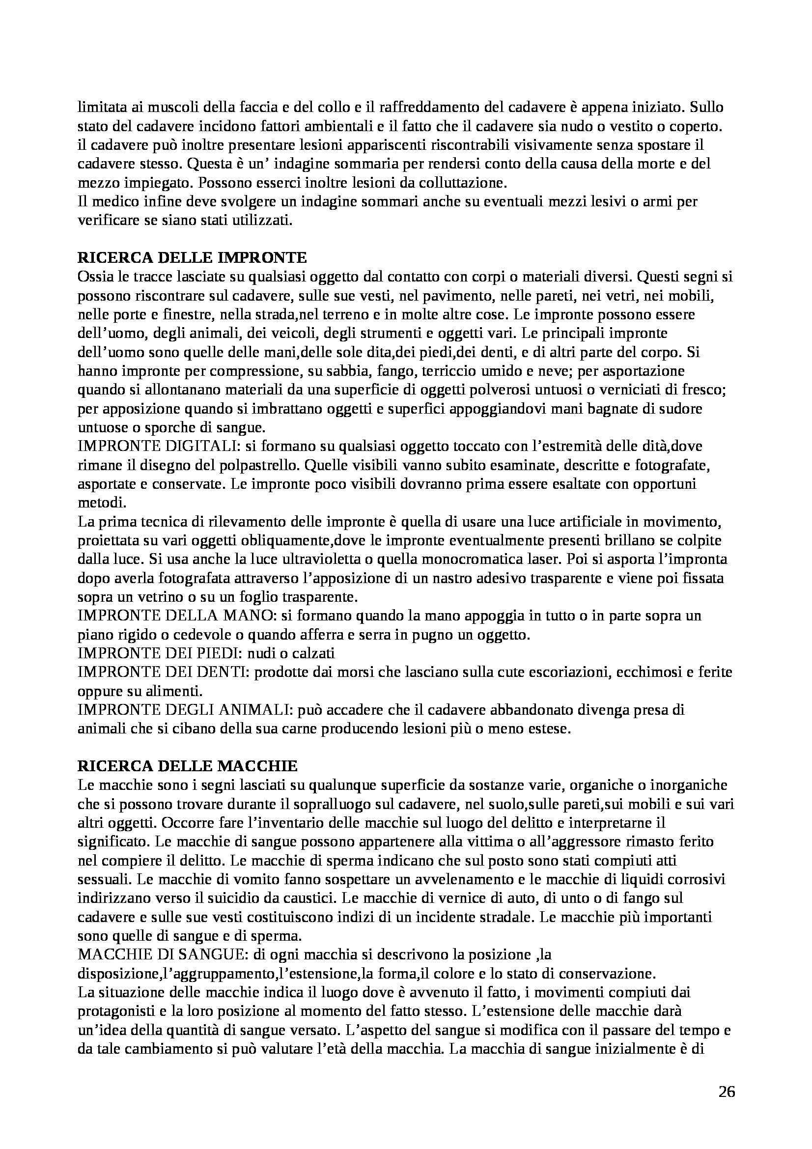 Riassunto esame Medicina legale, prof. Landi, libro consigliato Istituzioni di medicina legale, Puccini Pag. 26
