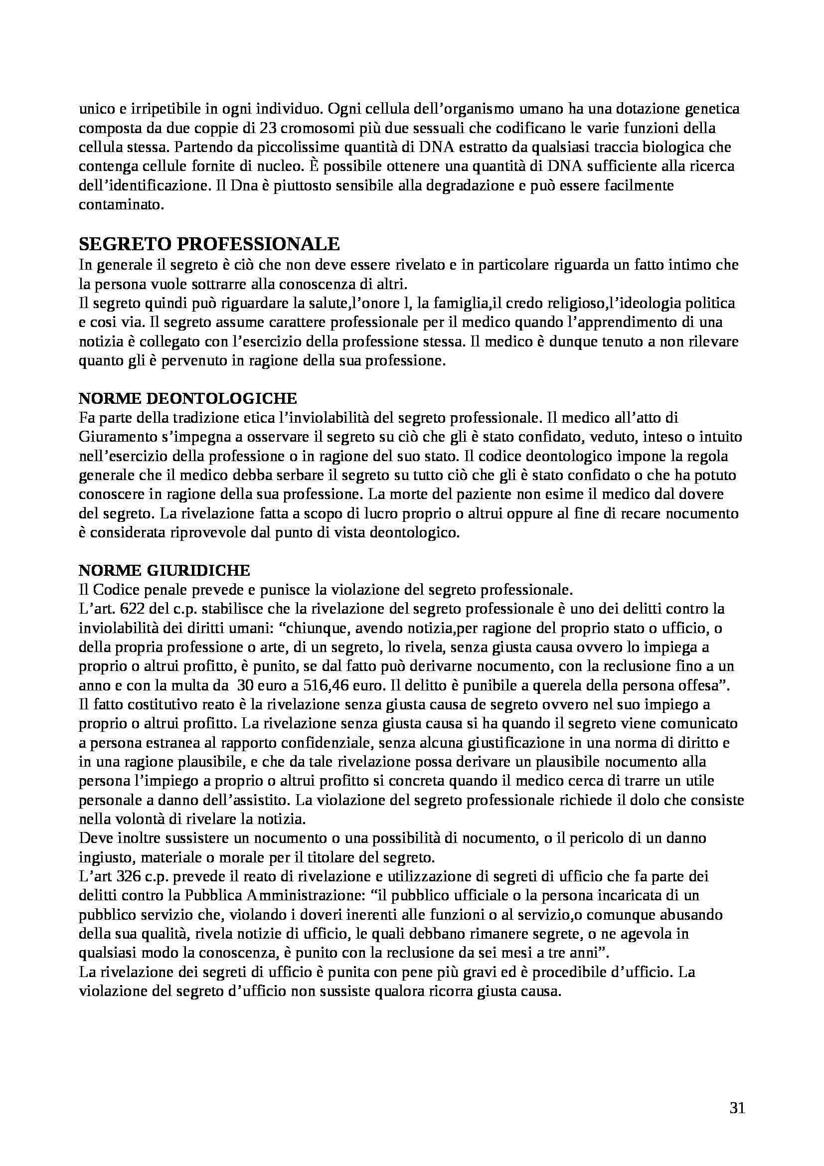 Riassunto esame Medicina legale, prof. Landi, libro consigliato Istituzioni di medicina legale, Puccini Pag. 31