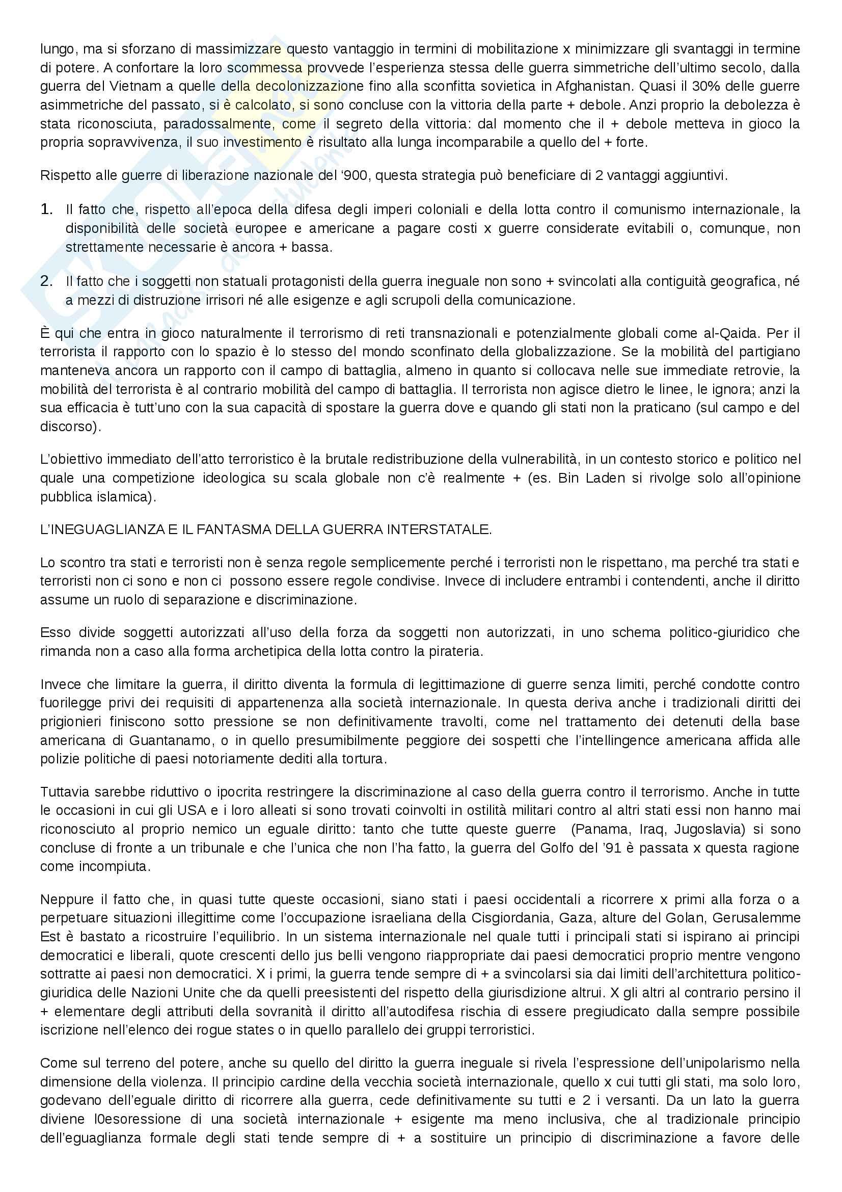 Riassunto esame Politica internazionale, docente Pisciotta, libro consigliato La guerra ineguale, Colombo Pag. 26