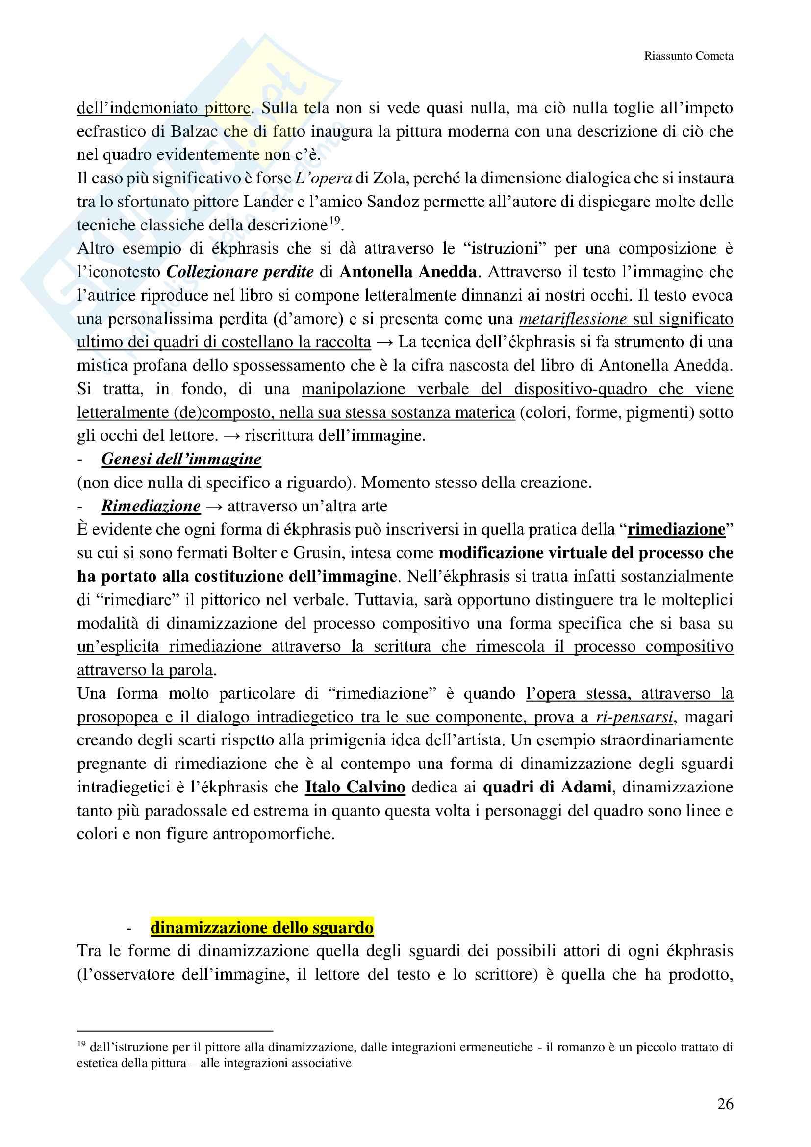 Riassunto esame Questioni di letteratura italiana contemporanea, prof Pomilio, libro consigliato La scrittura delle immagini, Cometa Pag. 26