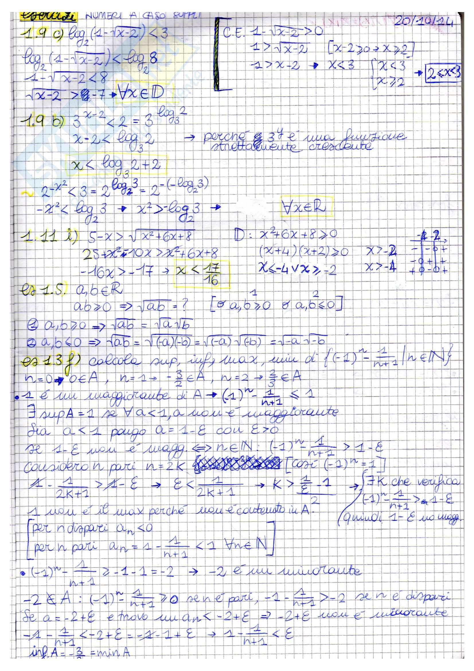 Nozioni, Analisi matematica I