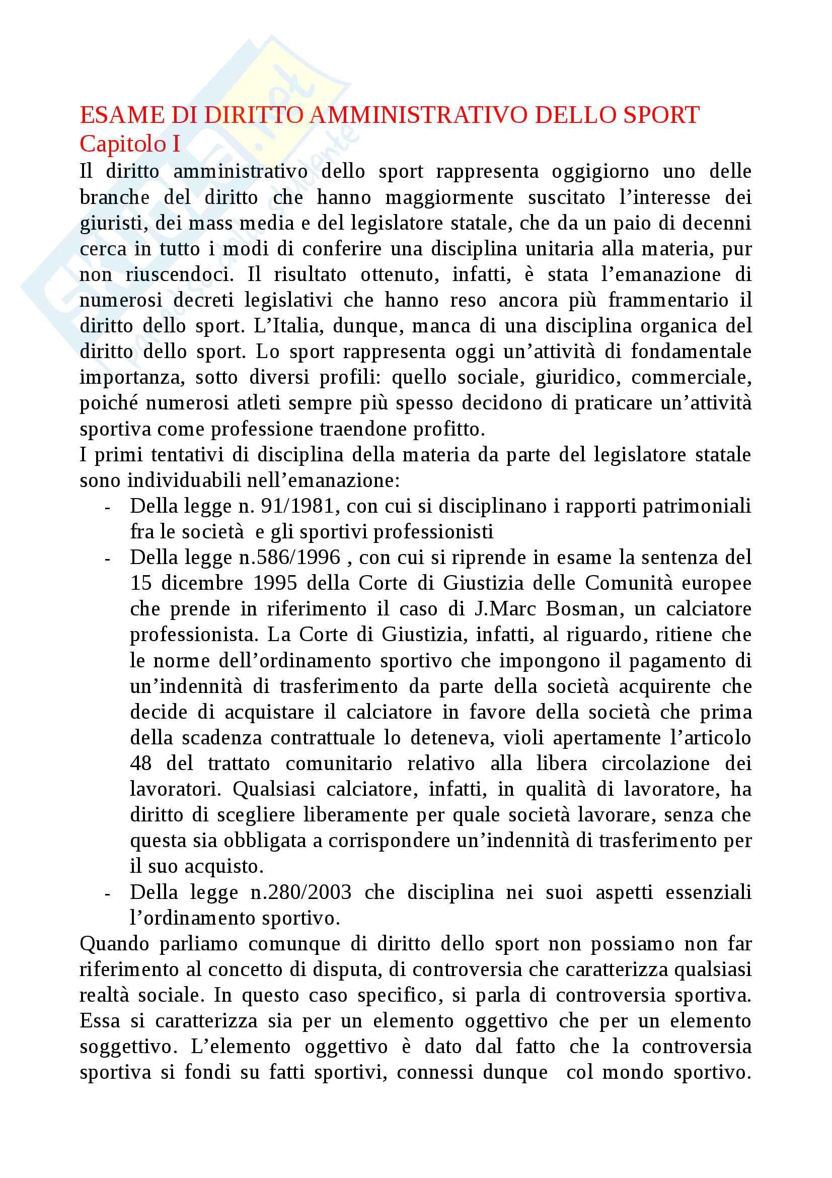 Esame di diritto amministrativo dello sport riassunto integrale