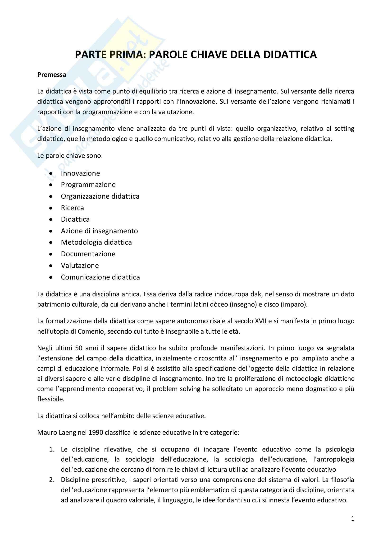Riassunto esame Didattica Generale, prof. Milito, libro consigliato Didattica Generale, Castoldi